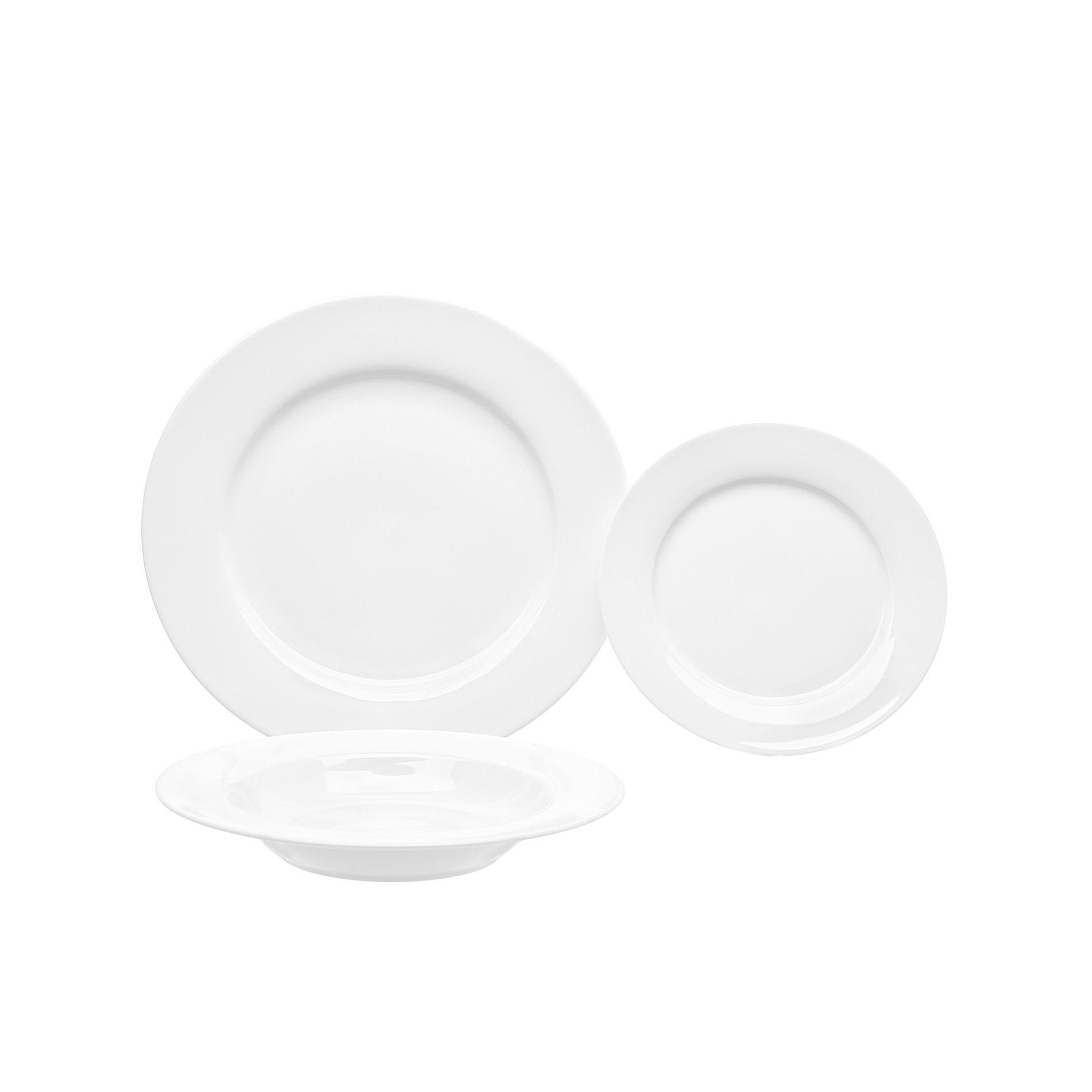 Falda set of 18 white porcelain plates, White, large image number 0