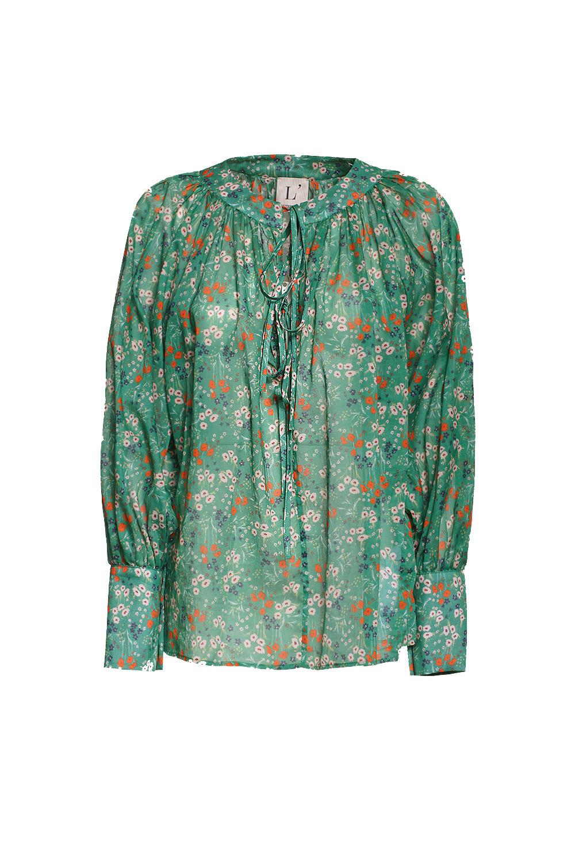Blusa in seta, Verde, large image number 0