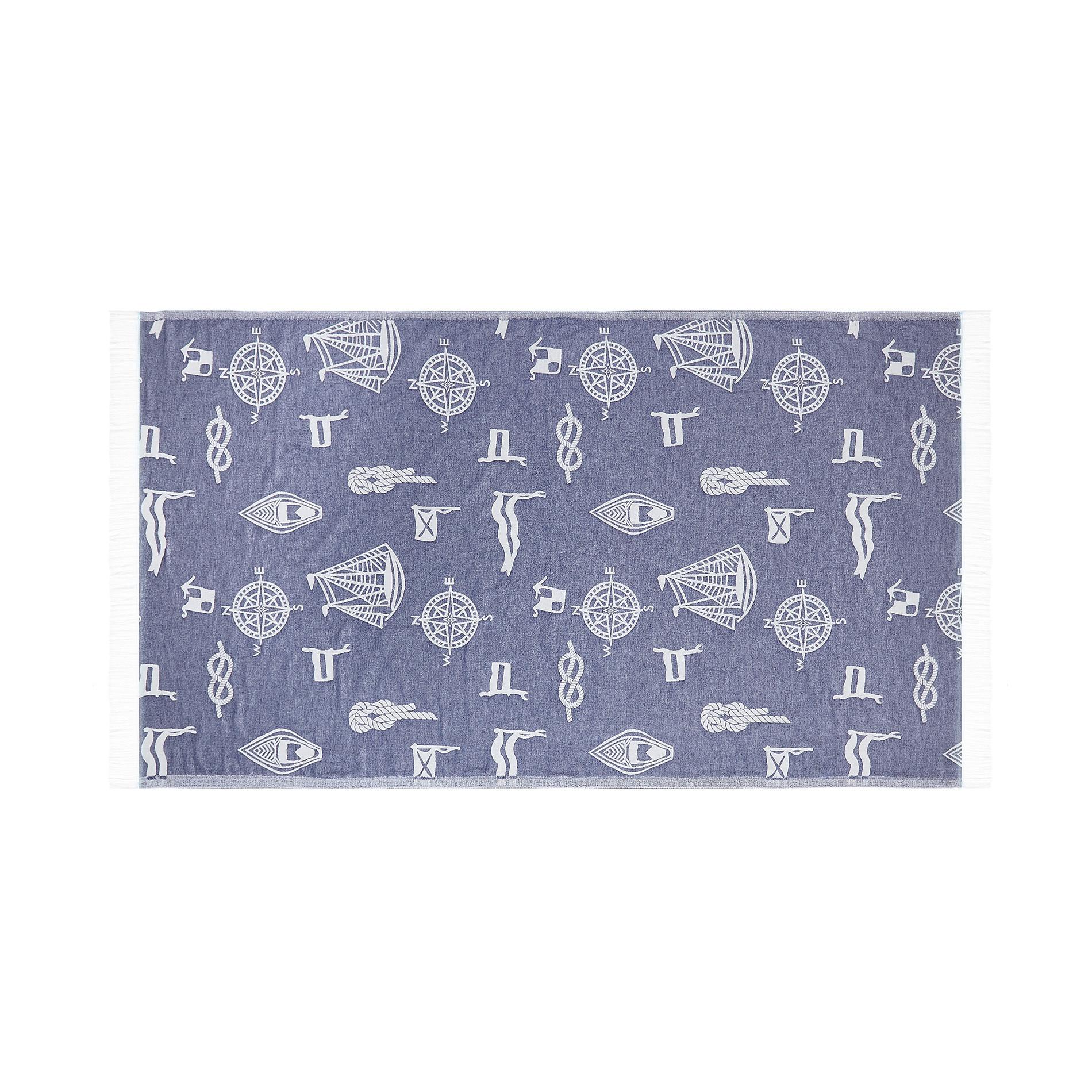 Telo mare hammam cotone motivo marinaro, Blu chambray, large image number 0