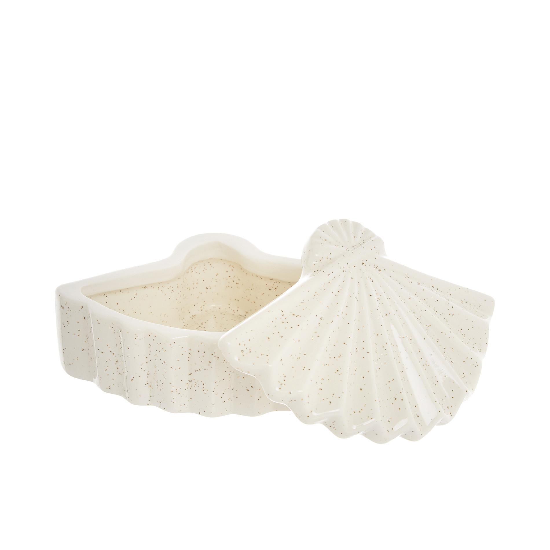 Box decorativo ceramica a ventaglio, Bianco, large image number 1