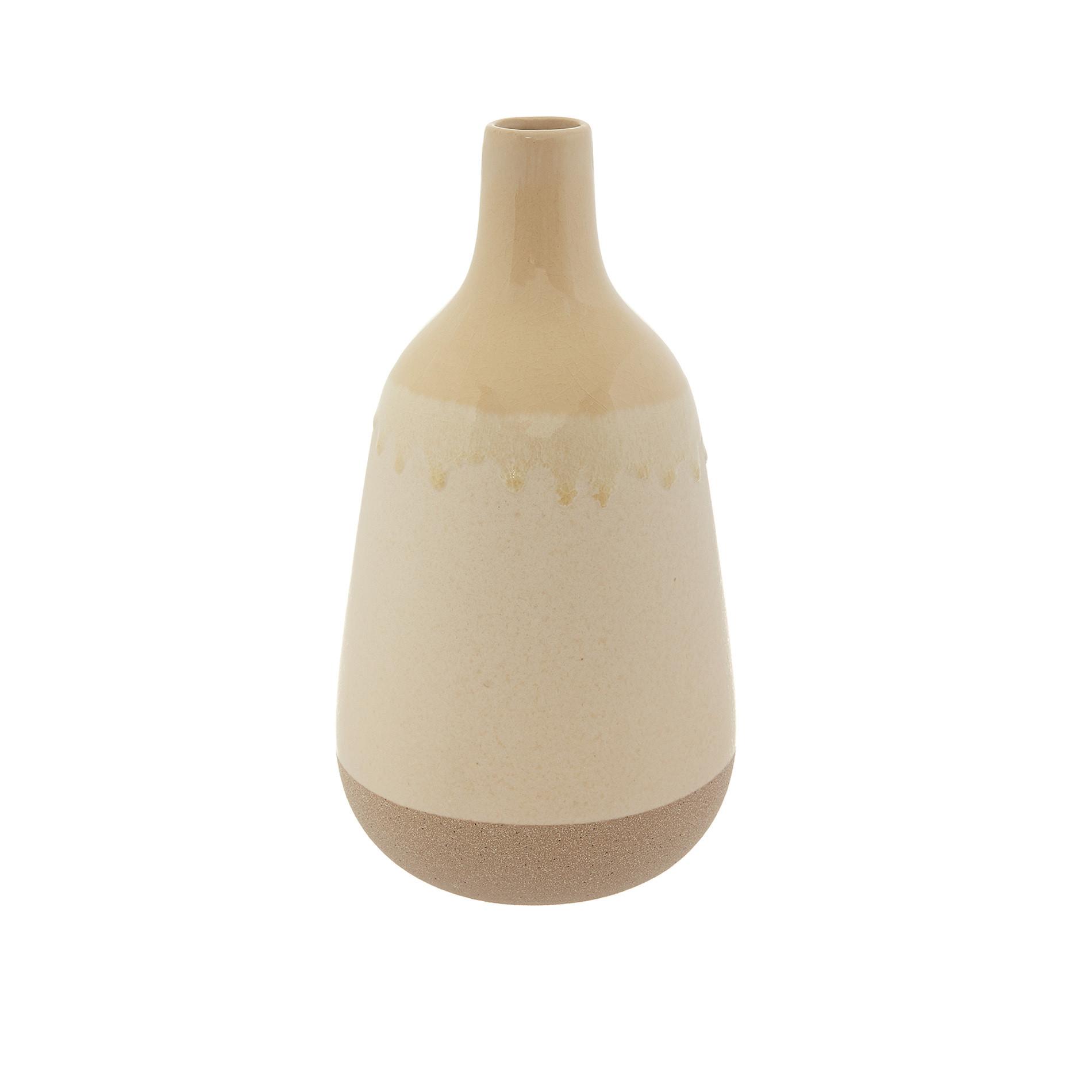 Vaso bottiglia ceramica bicolor, Beige, large image number 0