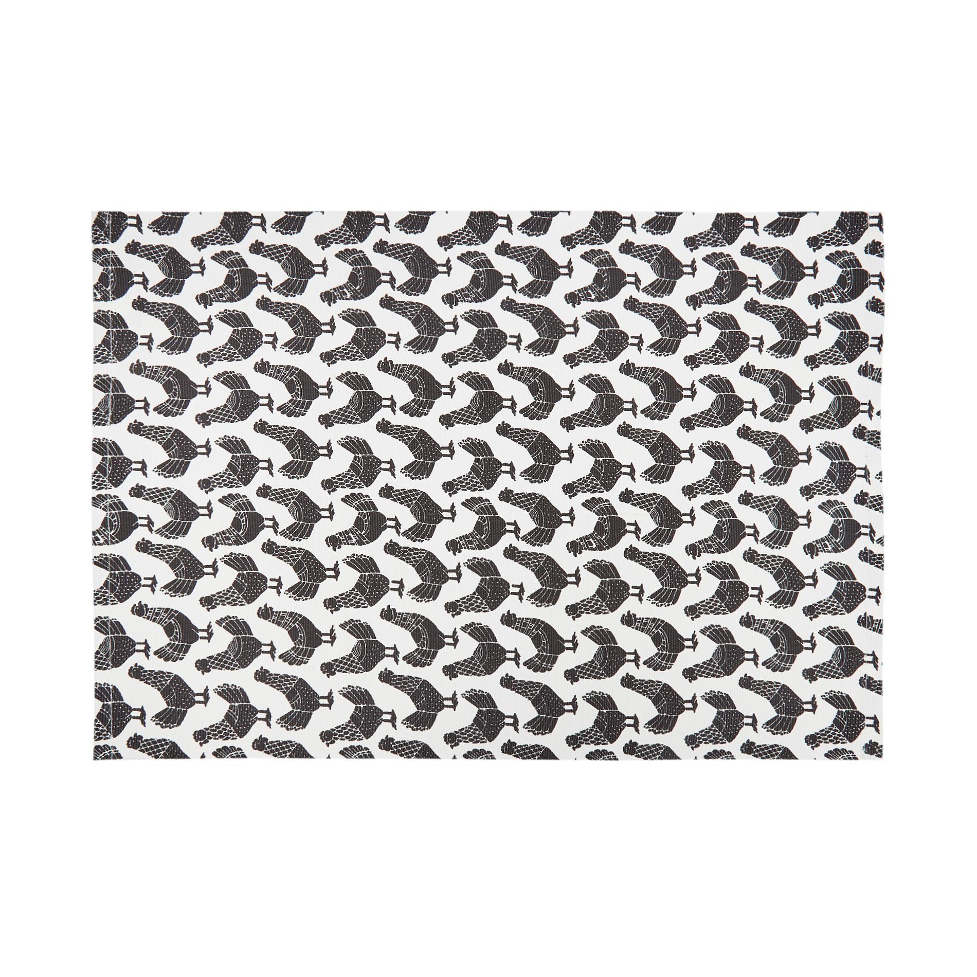 Tovaglietta puro cotone stampa galline, Nero, large image number 0