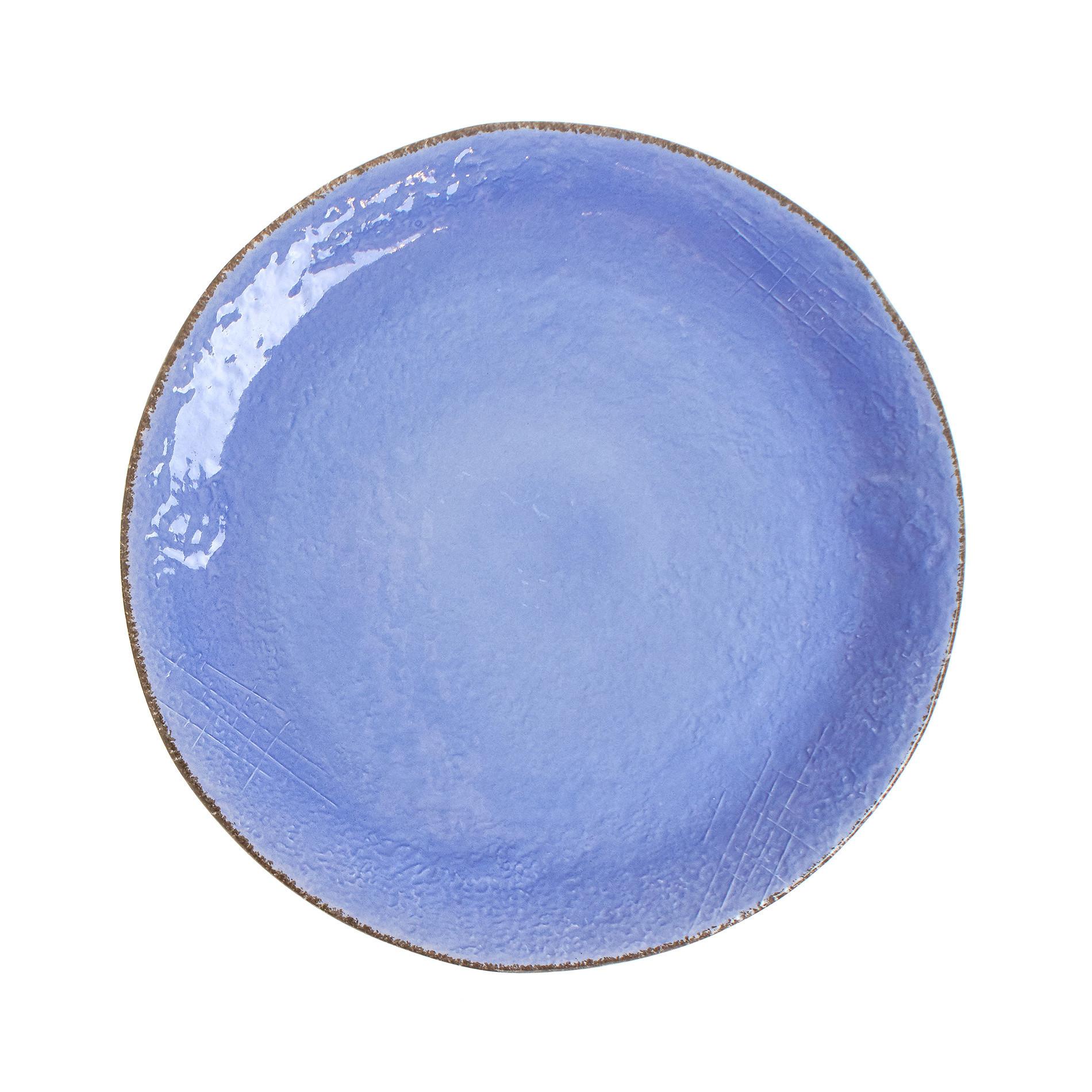 Piatto da portata ceramica artigianale Preta, Azzurro, large image number 0