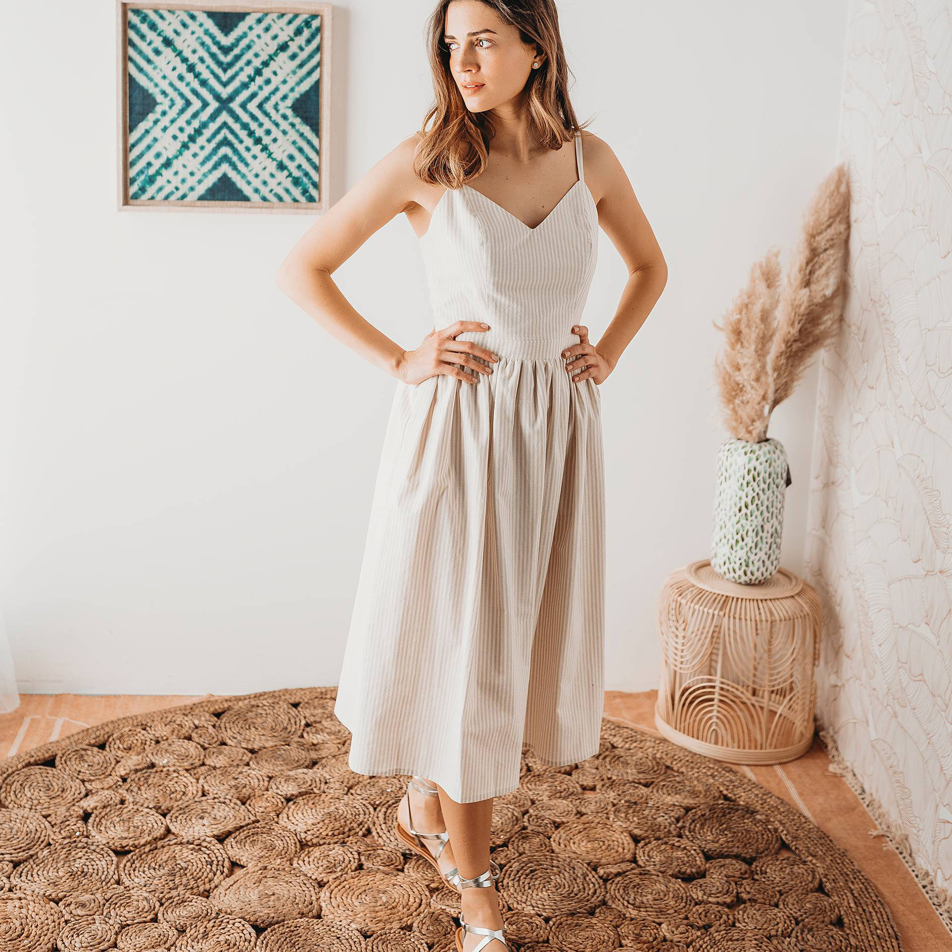 Abito midi in cotone a righine, Beige, large image number 2