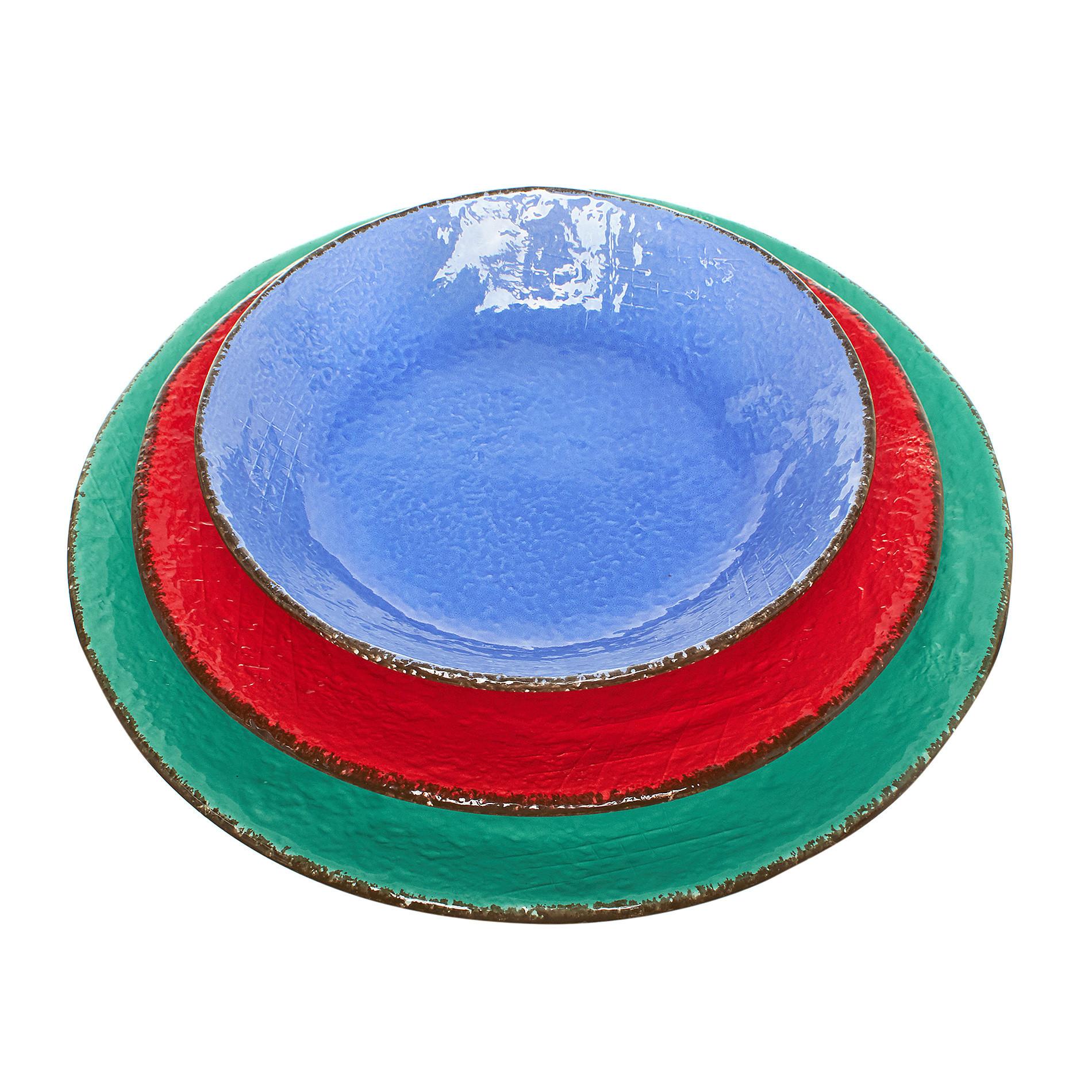 Piatto fondo ceramica artigianale Preta, Azzurro, large image number 3