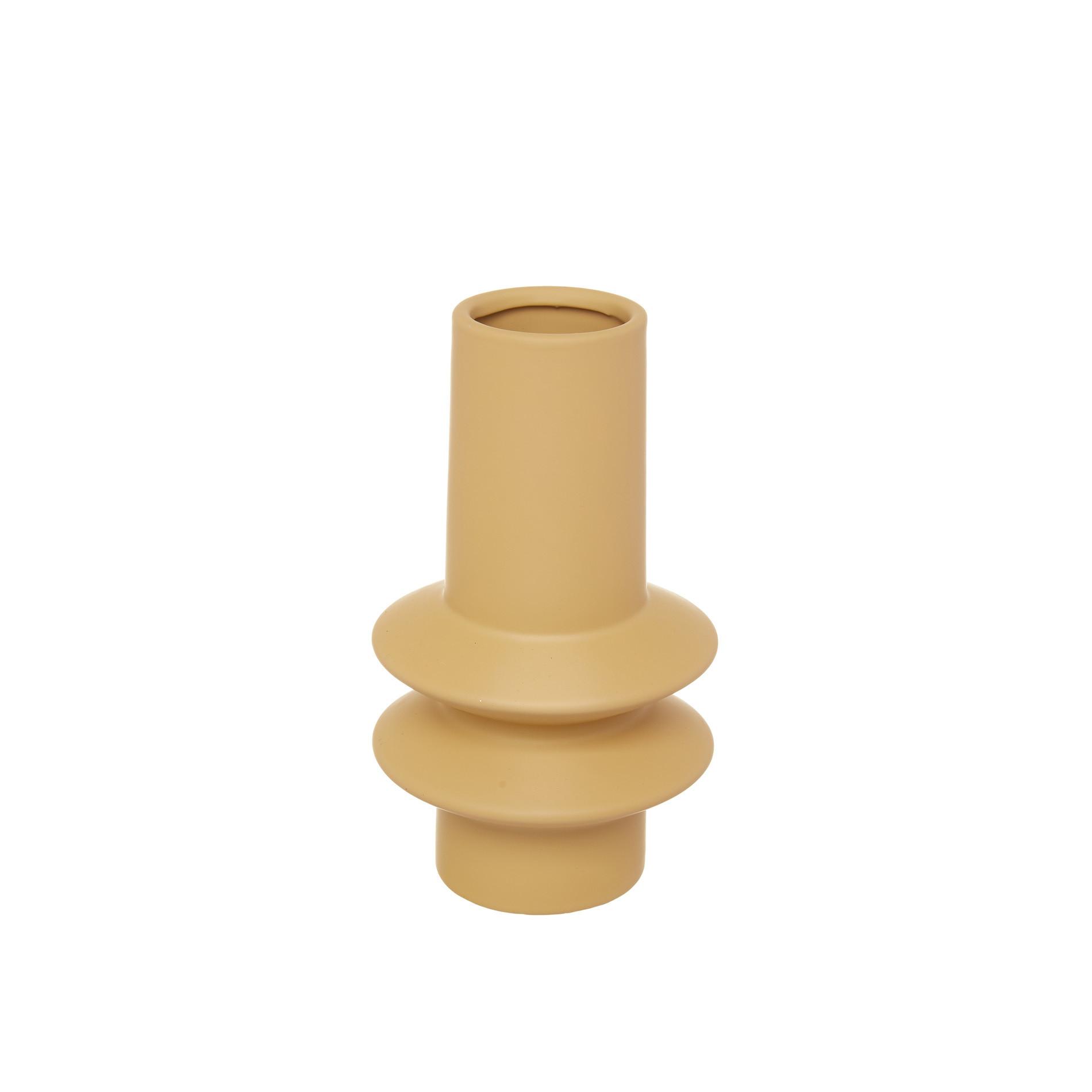 Vaso ceramica con anelli, Giallo ocra, large image number 0