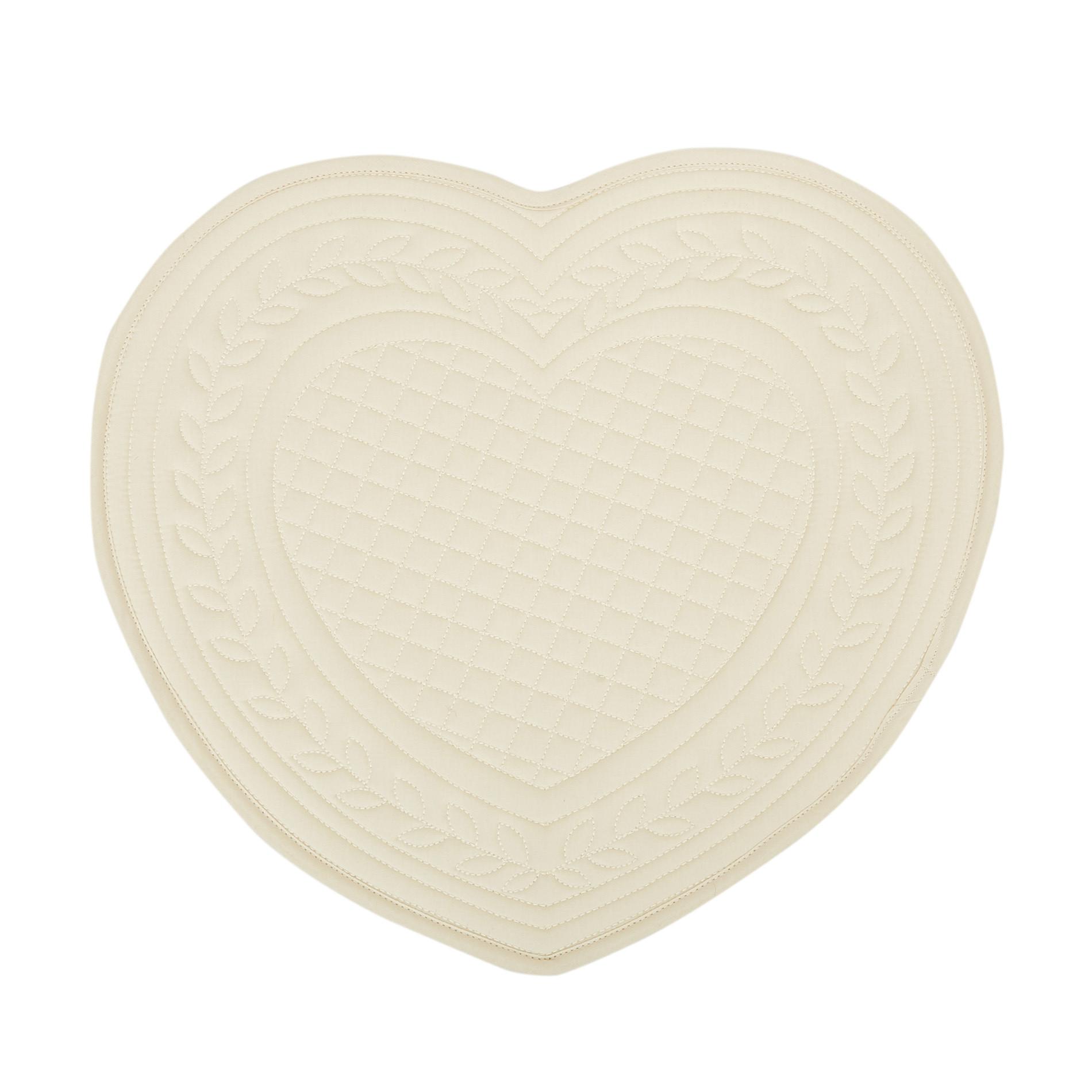 Tovaglietta a cuore cotone trapuntato, Beige chiaro, large image number 0