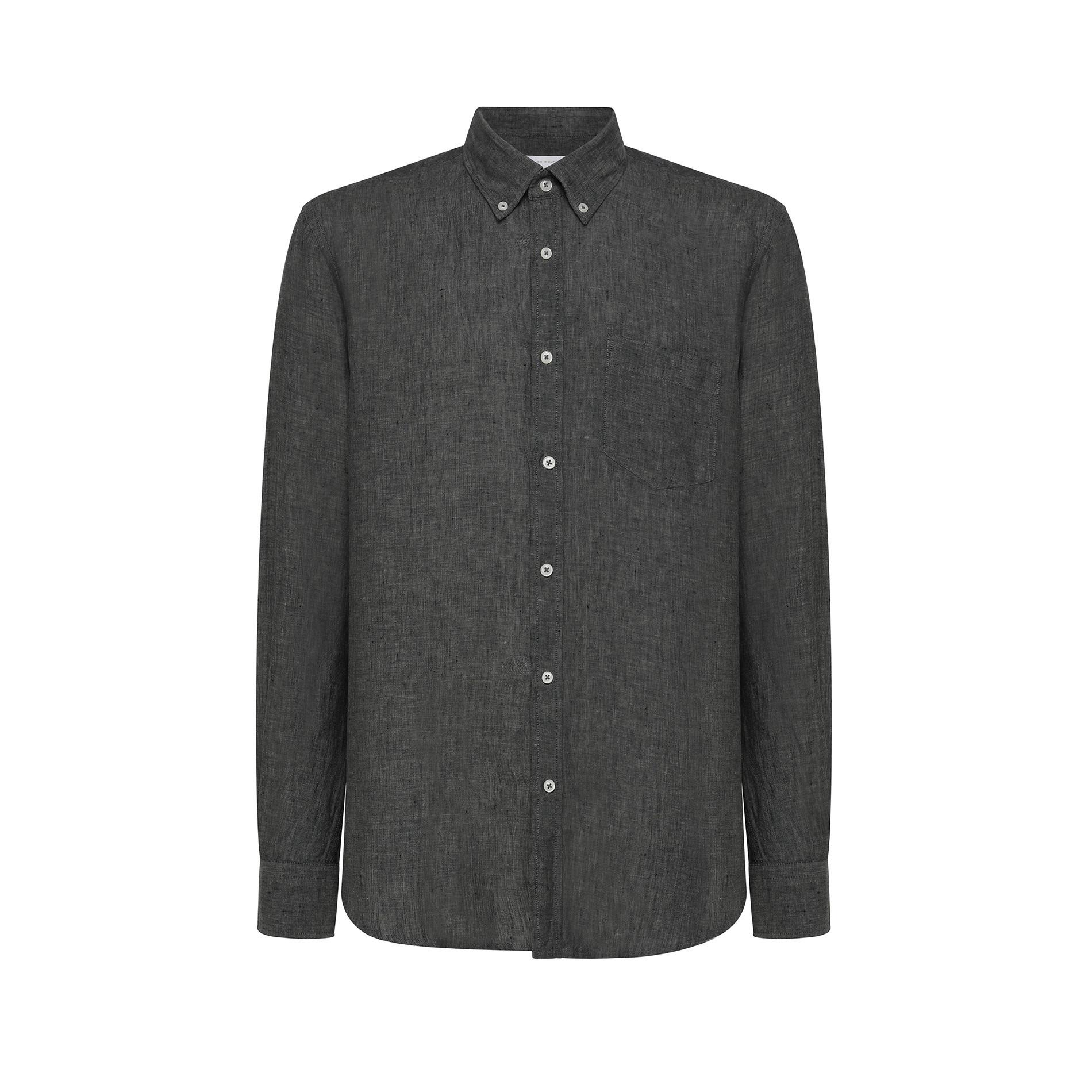 Camicia puro lino tailor fit Luca D'Altieri, Verde opale, large image number 0