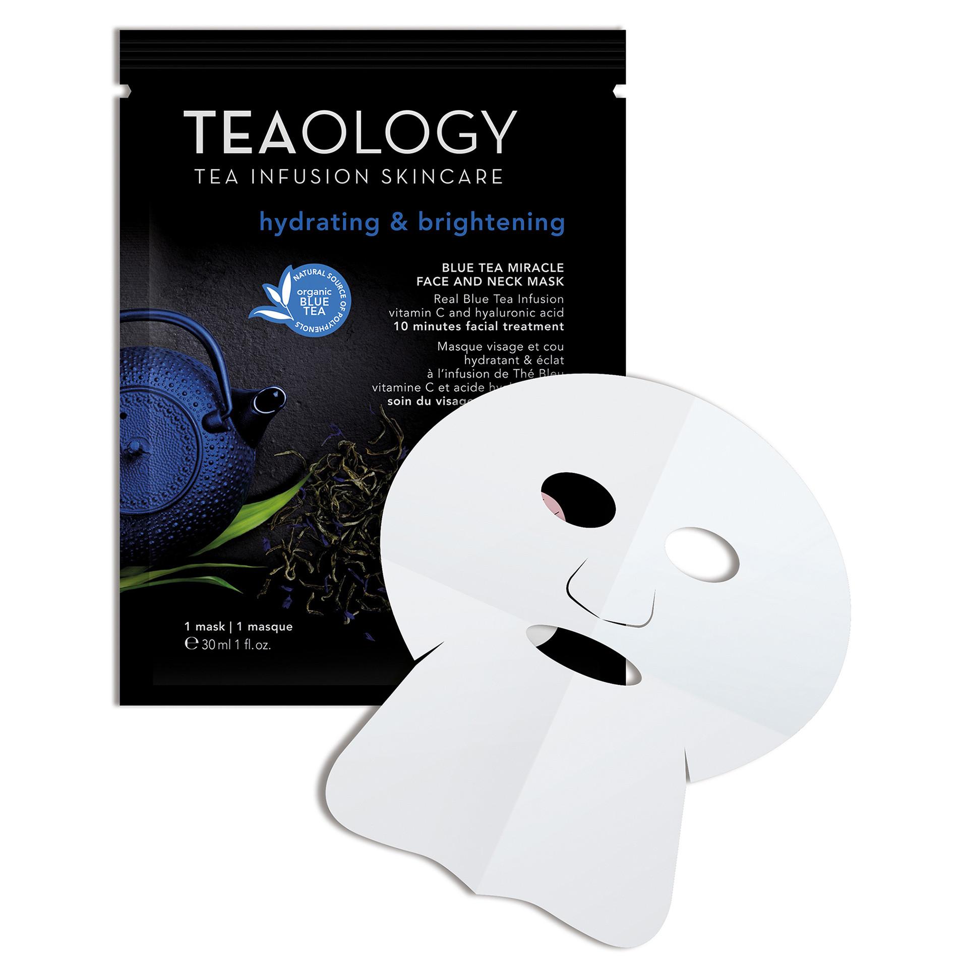 Blue Tea Miracle Face and Neck Mask Idratante e Illuminante 30 ml, Nero, large image number 1