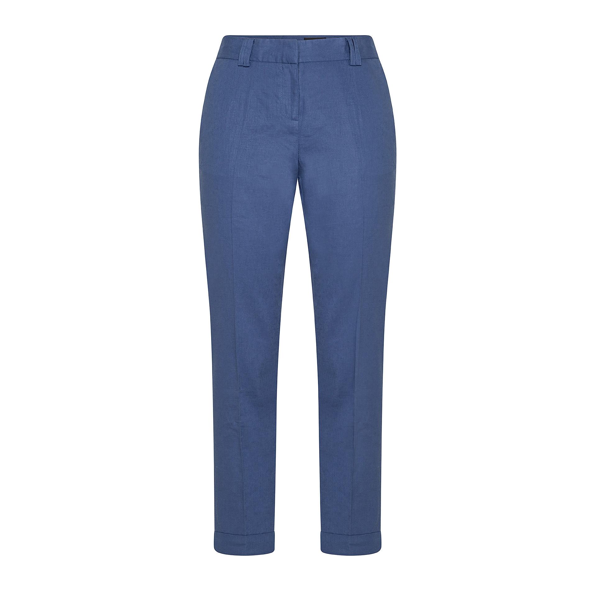 Pantalone classico in misto lino Koan, Blu scuro, large image number 0