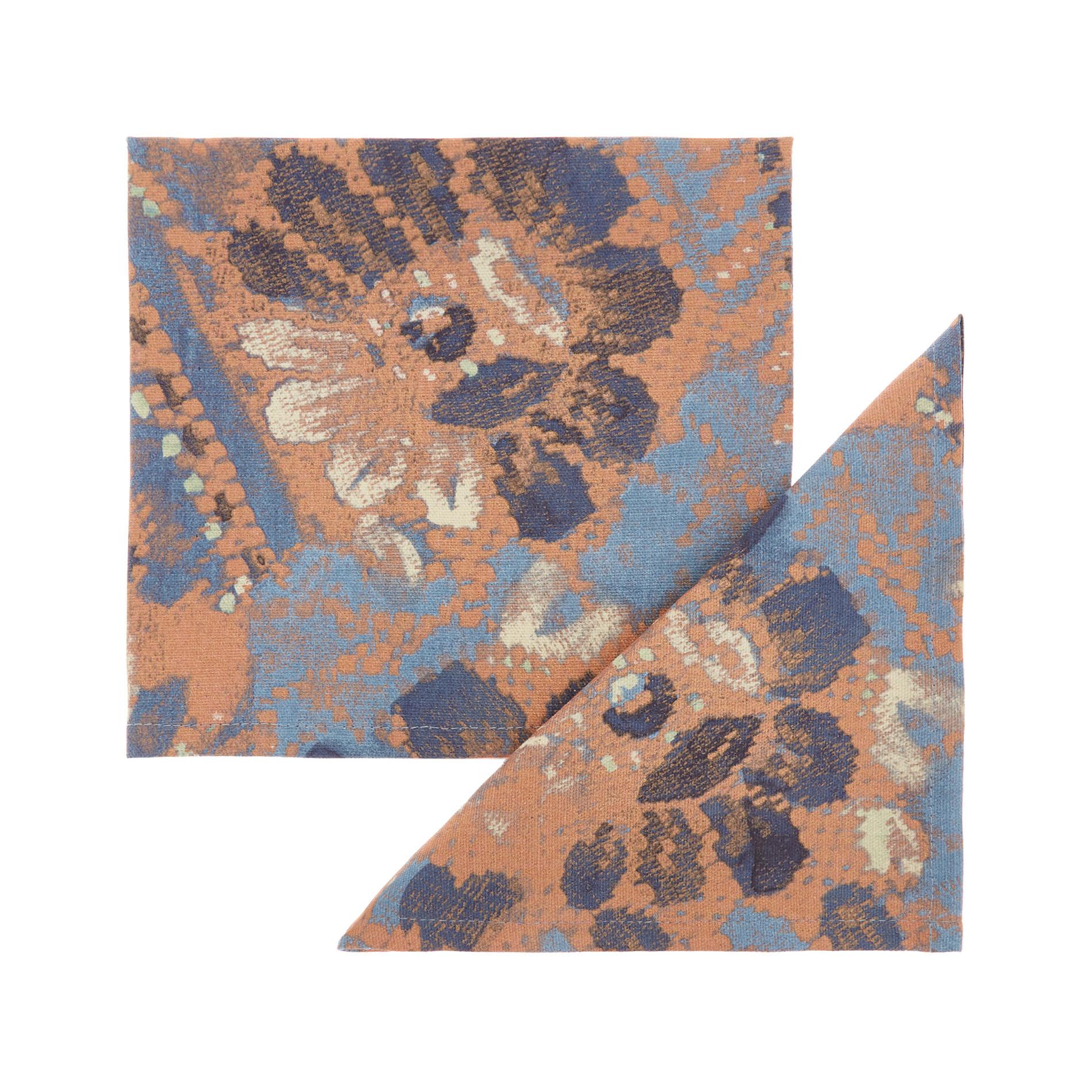 Set 2 tovaglioli puro cotone stampa floreale, Azzurro, large image number 0