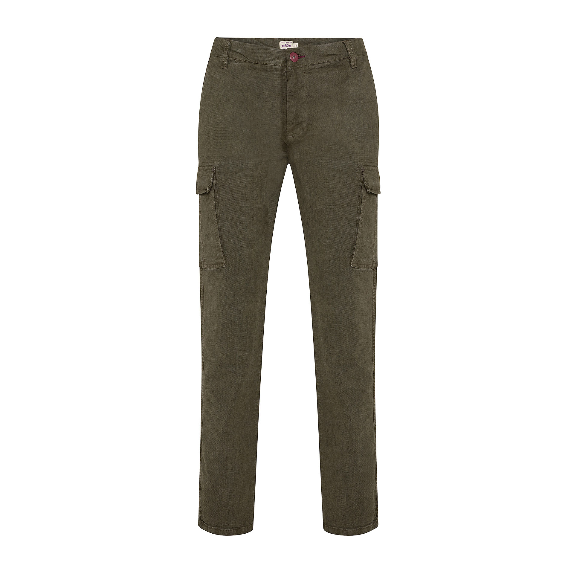 Pantalone cargo stretch con tasche, Verde scuro, large image number 0