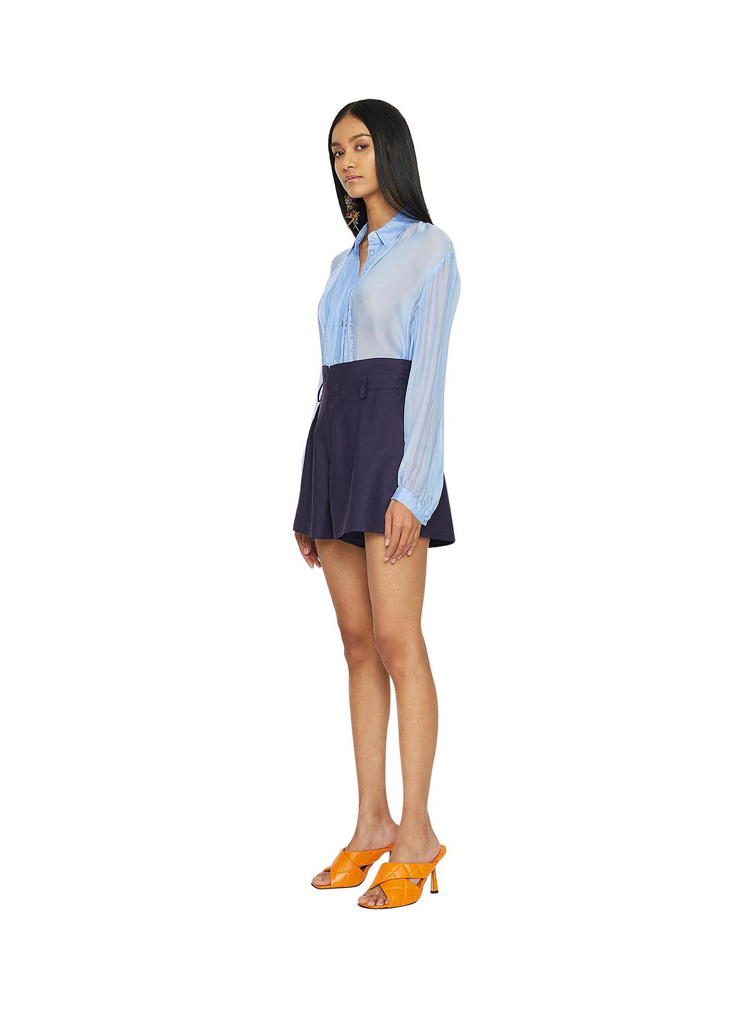 Camicia in chiffon Vanilla, Azzurro, large image number 1