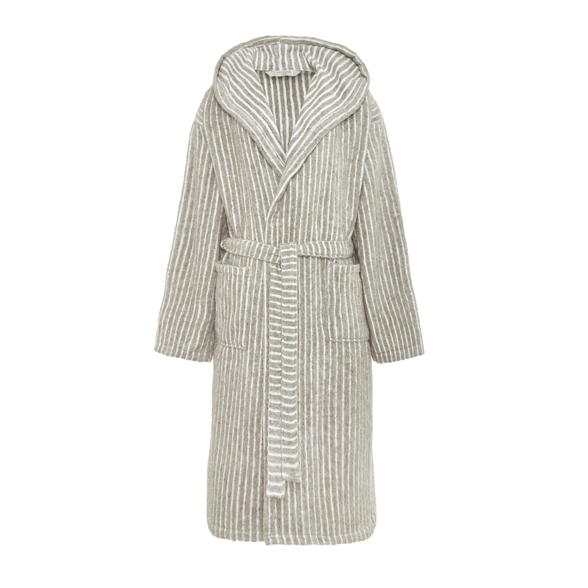 Accappatoio puro cotone a righe Thermae, Beige, large image number 1