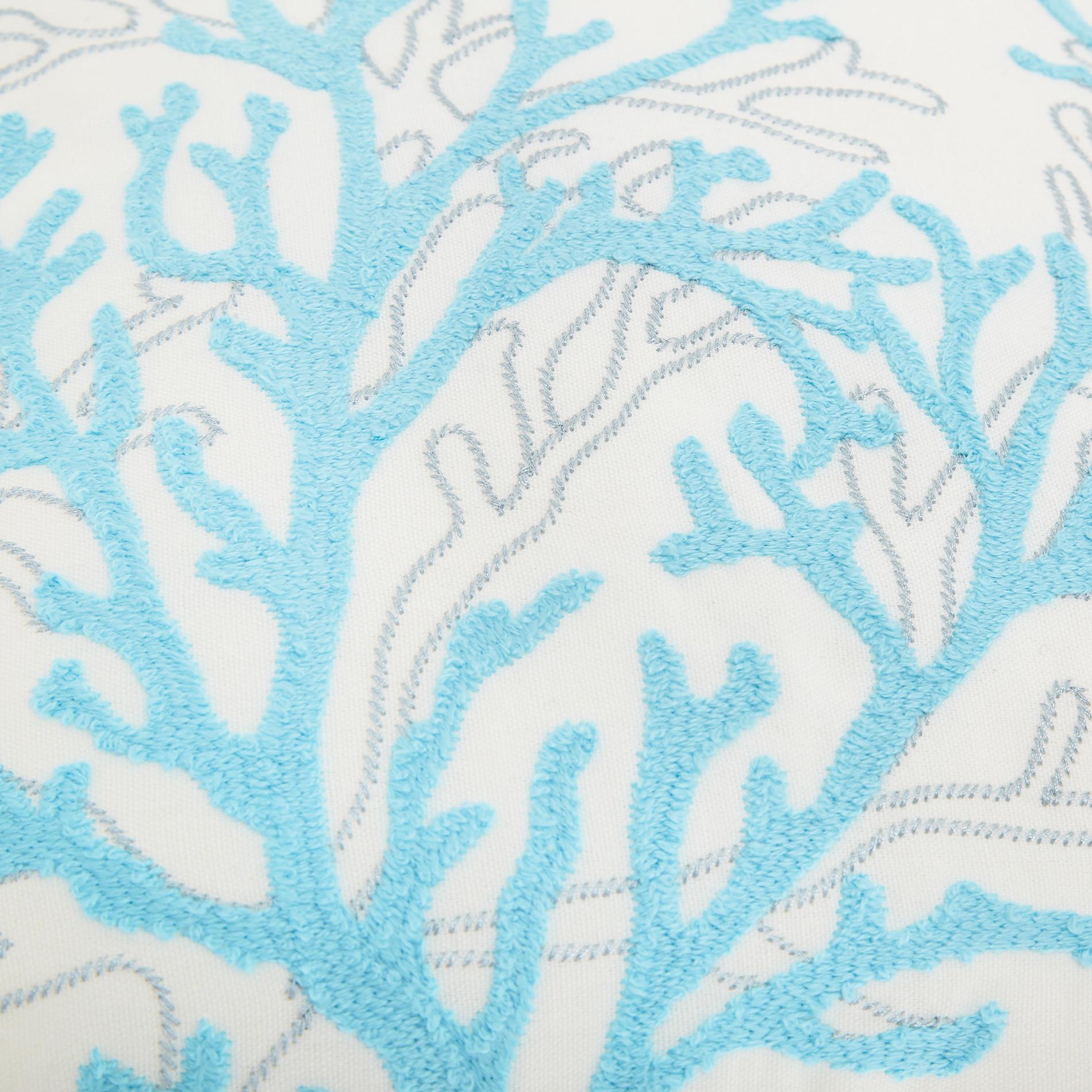 Cuscino ricamo coralli 45x45cm, Azzurro, large image number 3