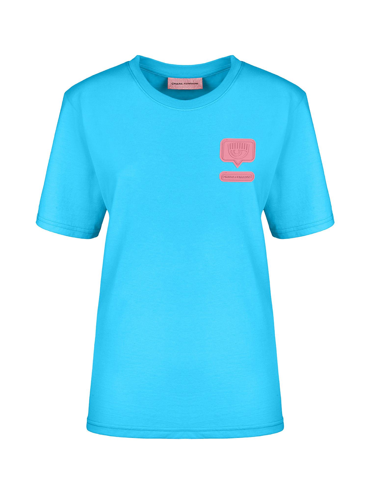Eyelike patch T-Shirt over, Azzurro Oceano, large image number 0