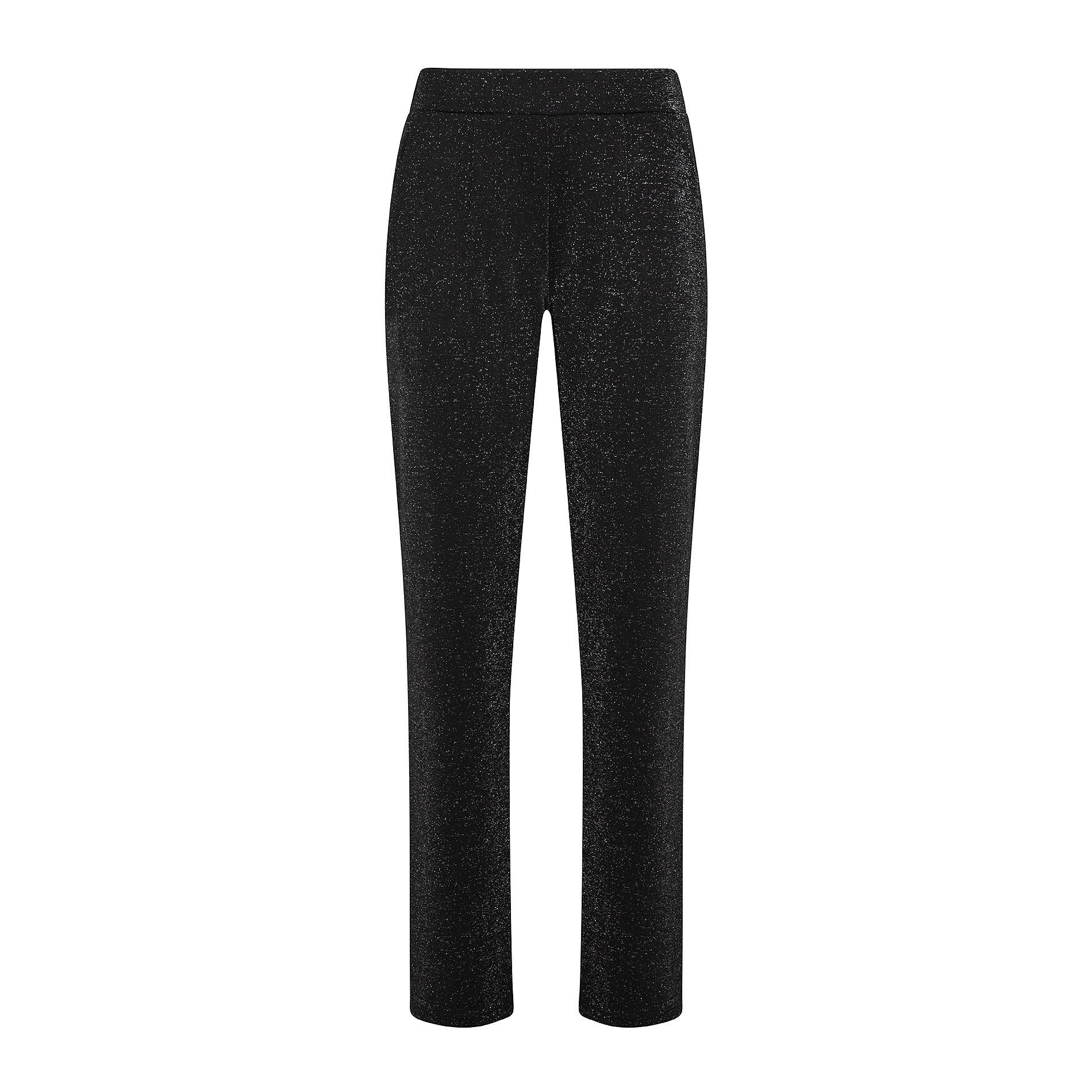 Pantaloni tinta unita con lurex, Nero, large image number 0