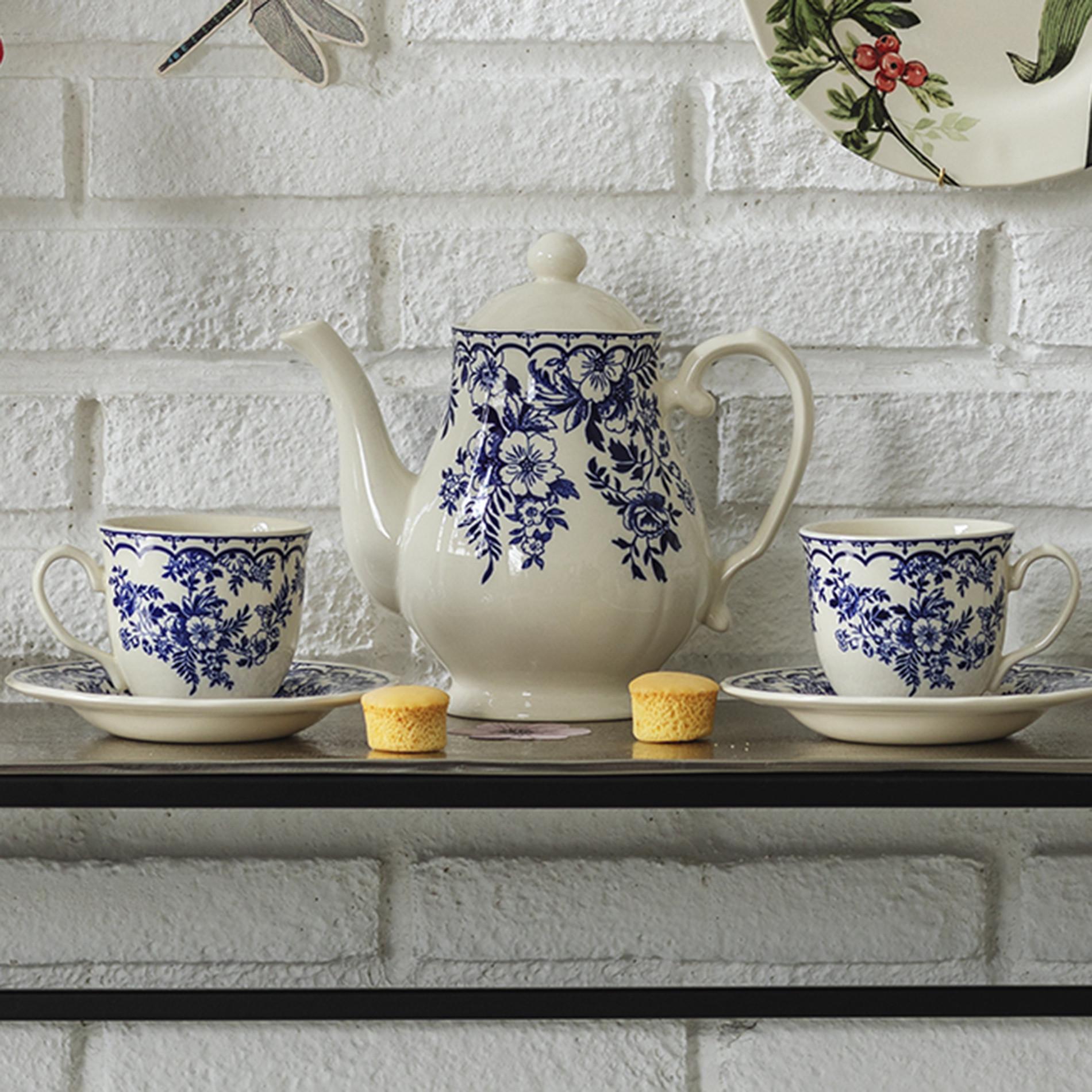 Teiera ceramica Blue Flower, Blu, large image number 0