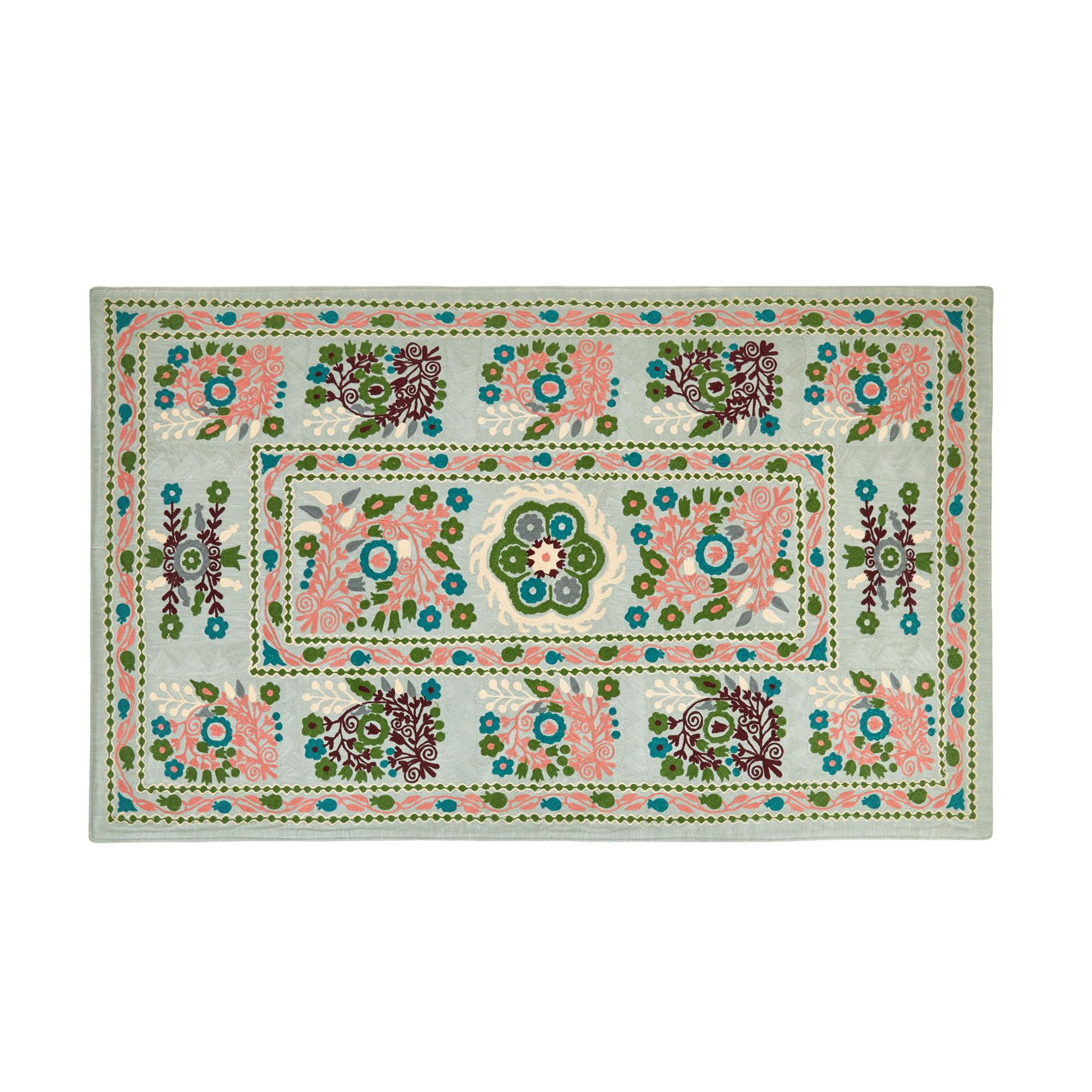 Tappeto puro cotone motivo floreale in lana, Multicolor, large image number 0