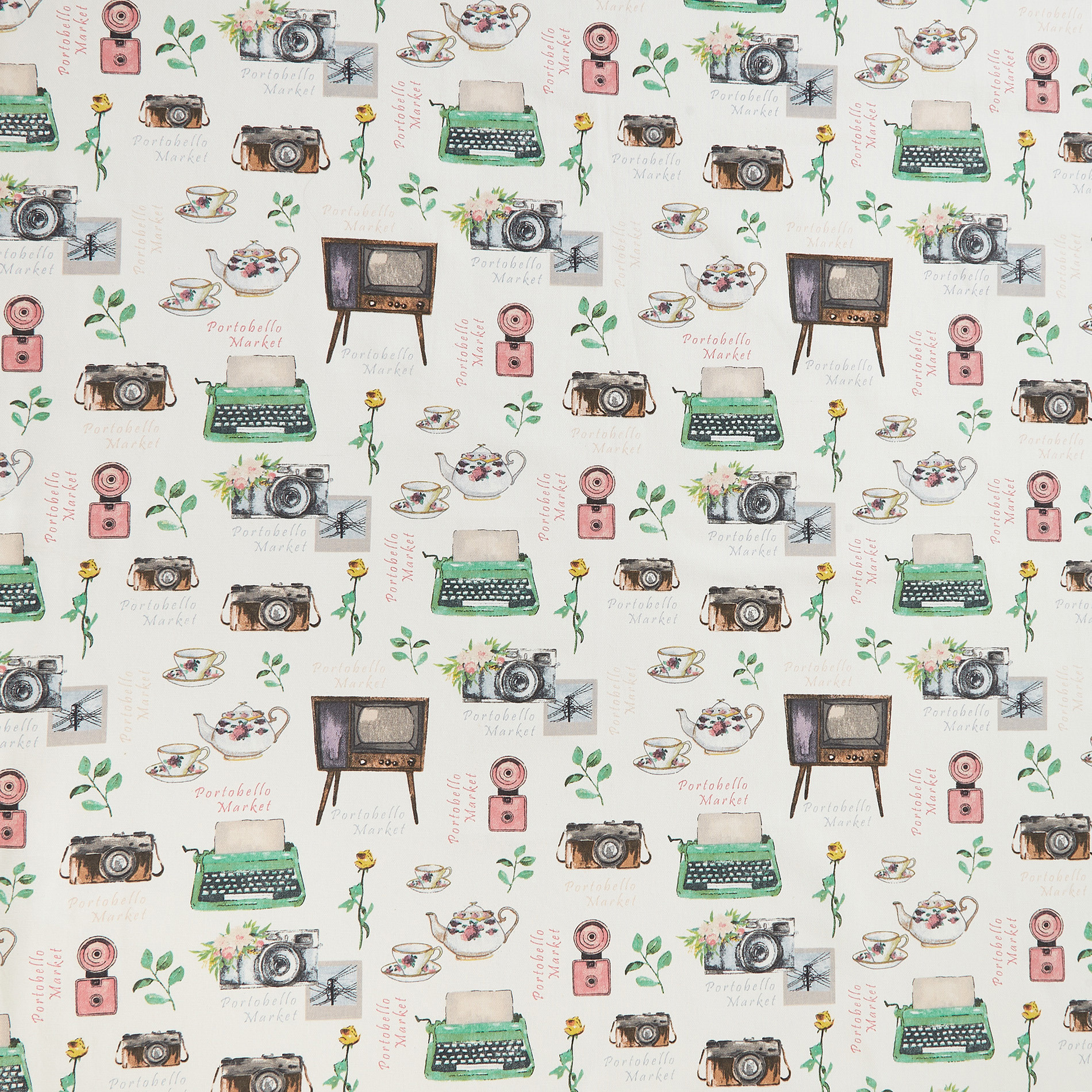 Tovaglia puro cotone stampa Portobello, Multicolor, large image number 0