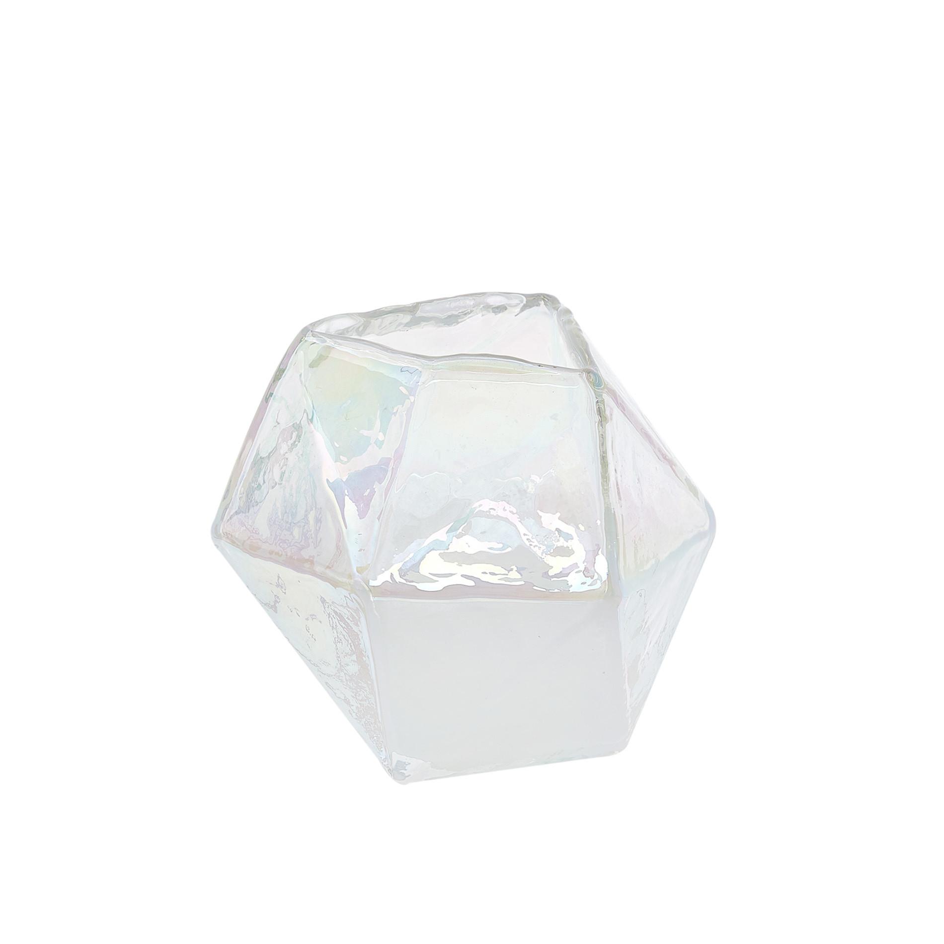 Vaso prisma vetro colorato in pasta, Grigio perla, large image number 0
