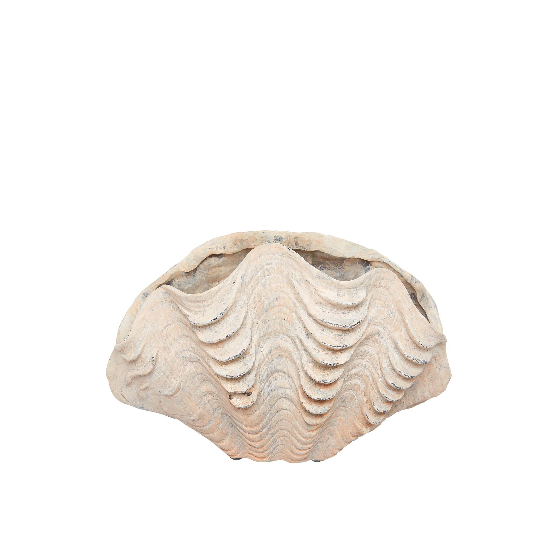 Pot a conchiglia rifinita a mano, Bianco, large image number 0