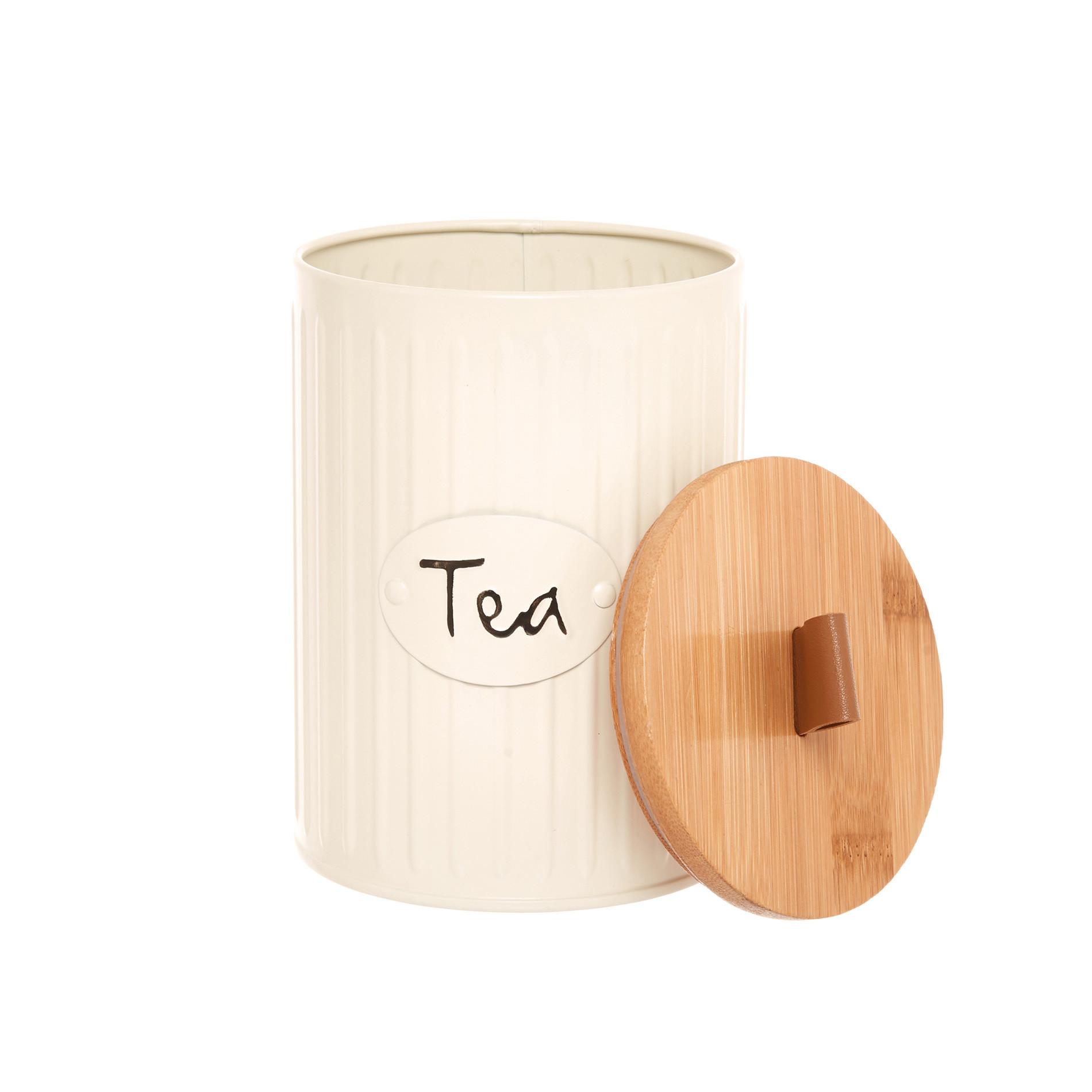 Barattolo in metallo smaltato Tea, Beige scuro, large image number 1