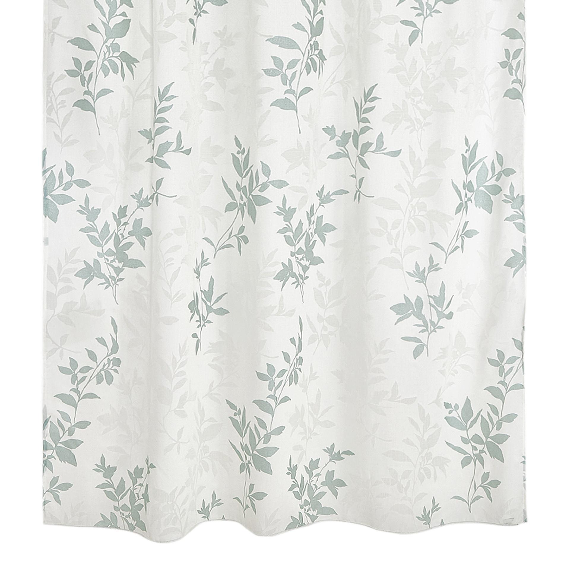 Tenda tessuto devore floreale con laccetti, Beige chiaro, large image number 0
