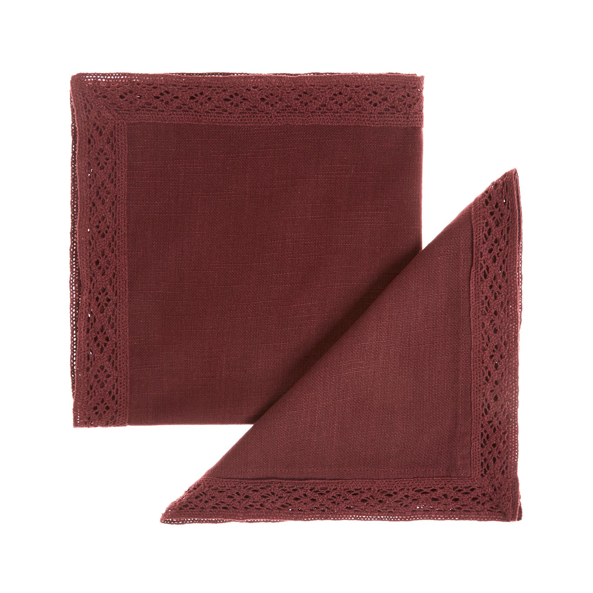 Set 2 tovaglioli puro cotone fiammato con pizzo, Rosso scuro, large image number 0