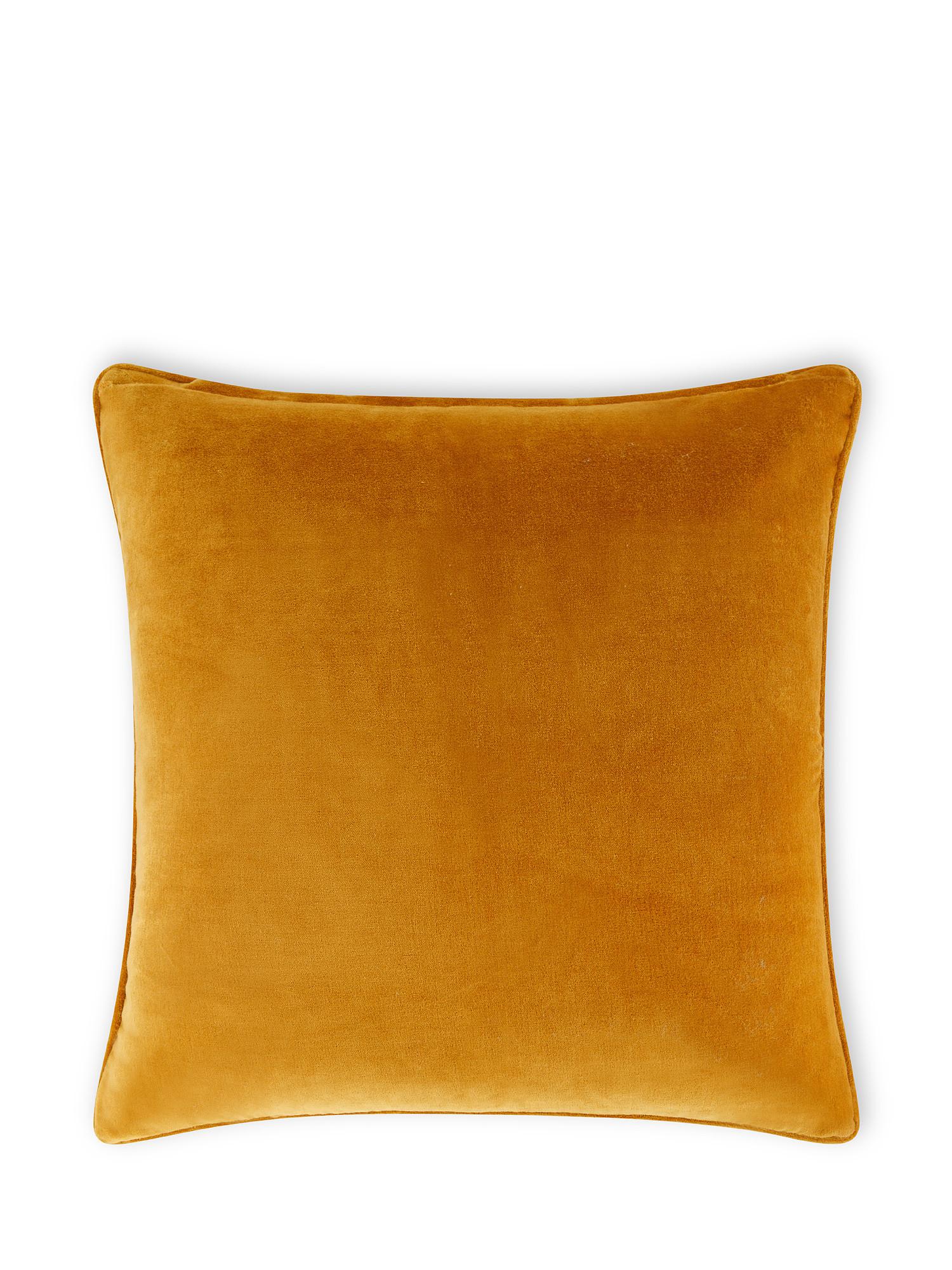 Cuscino velluto di cotone tinta unita 45x45cm, Giallo ocra, large image number 0