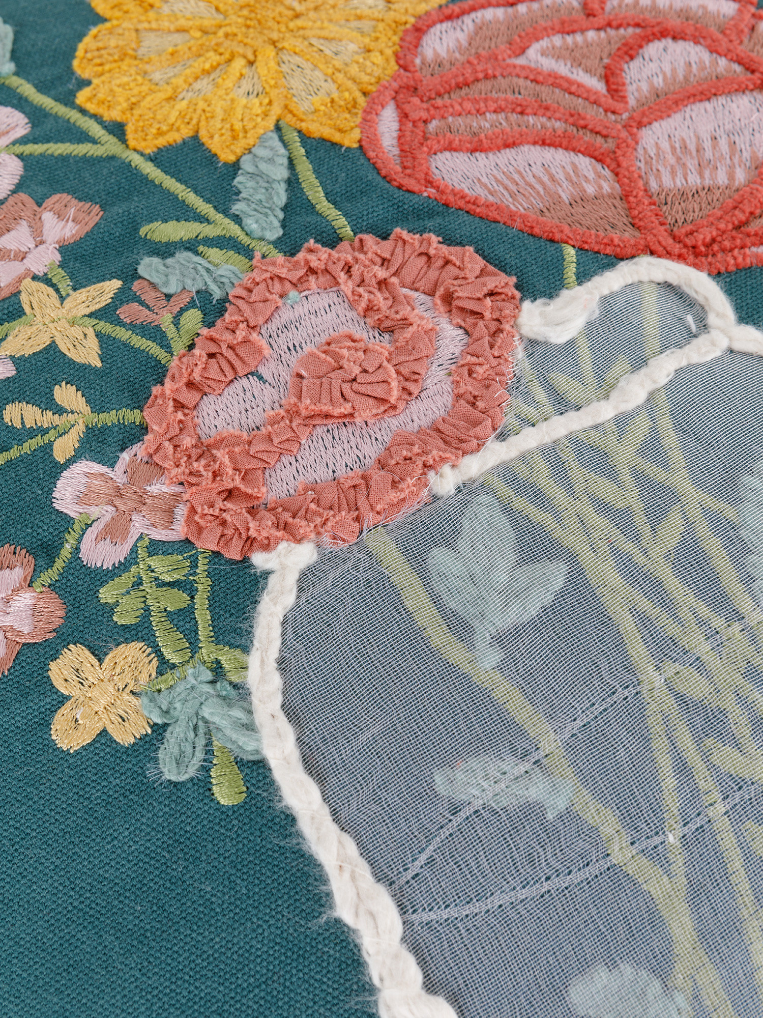 Cuscino cotone ricamo vaso 45x45cm, Multicolor, large image number 2
