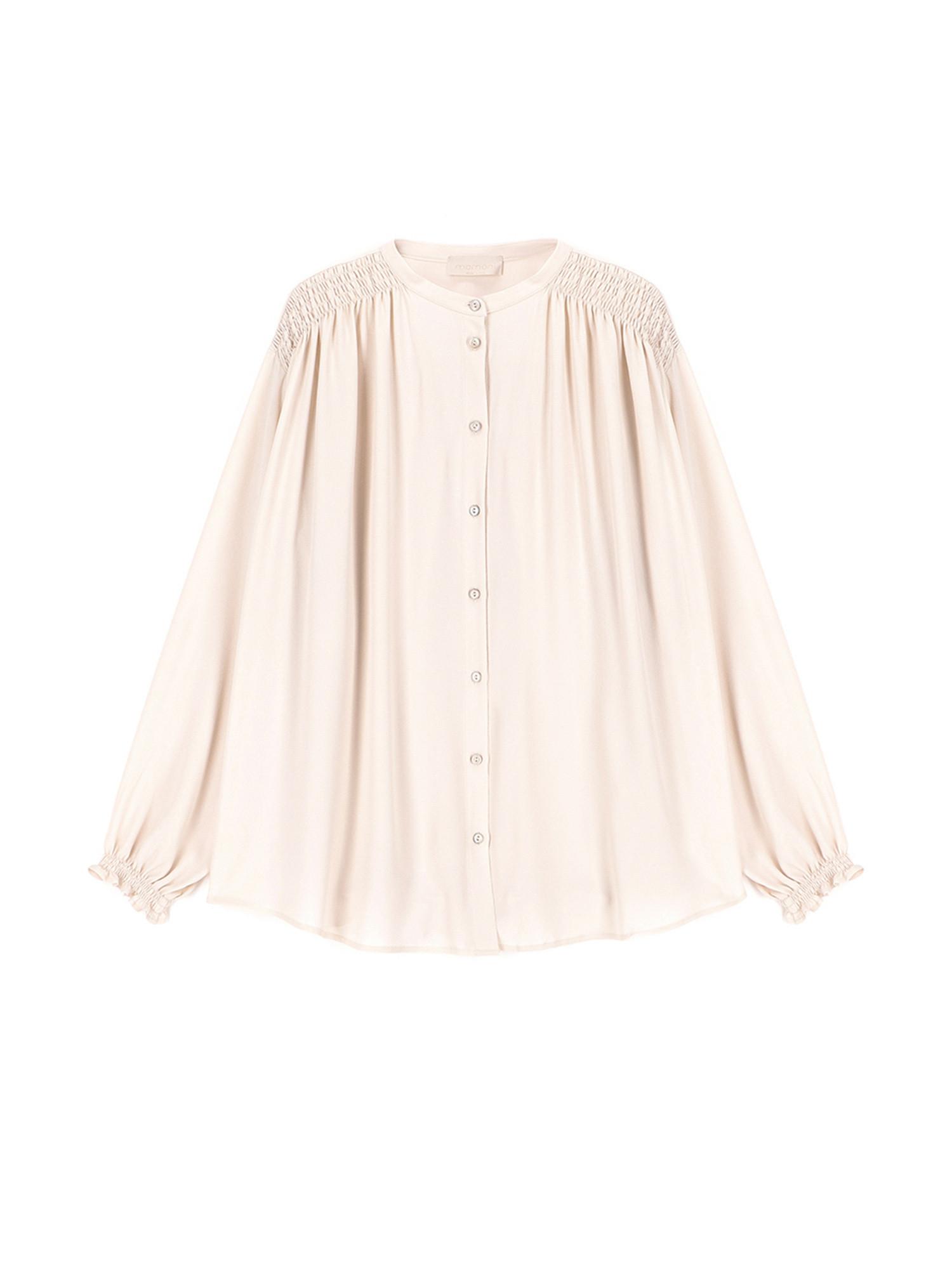 Camicia Firenze in tessuto misto seta, Bianco panna, large image number 0