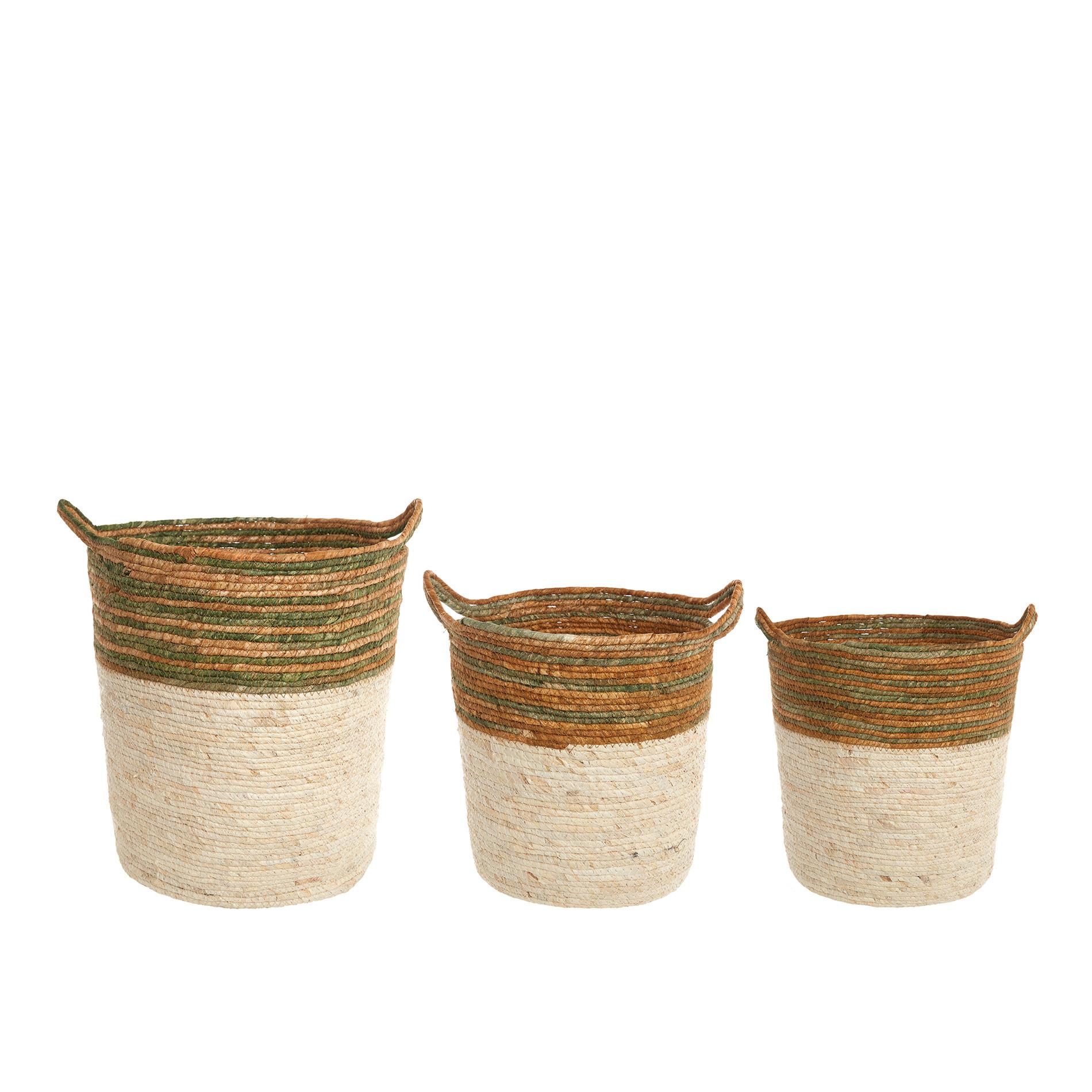Cesto in foglie di mais intrecciato a mano, Bianco, large image number 2