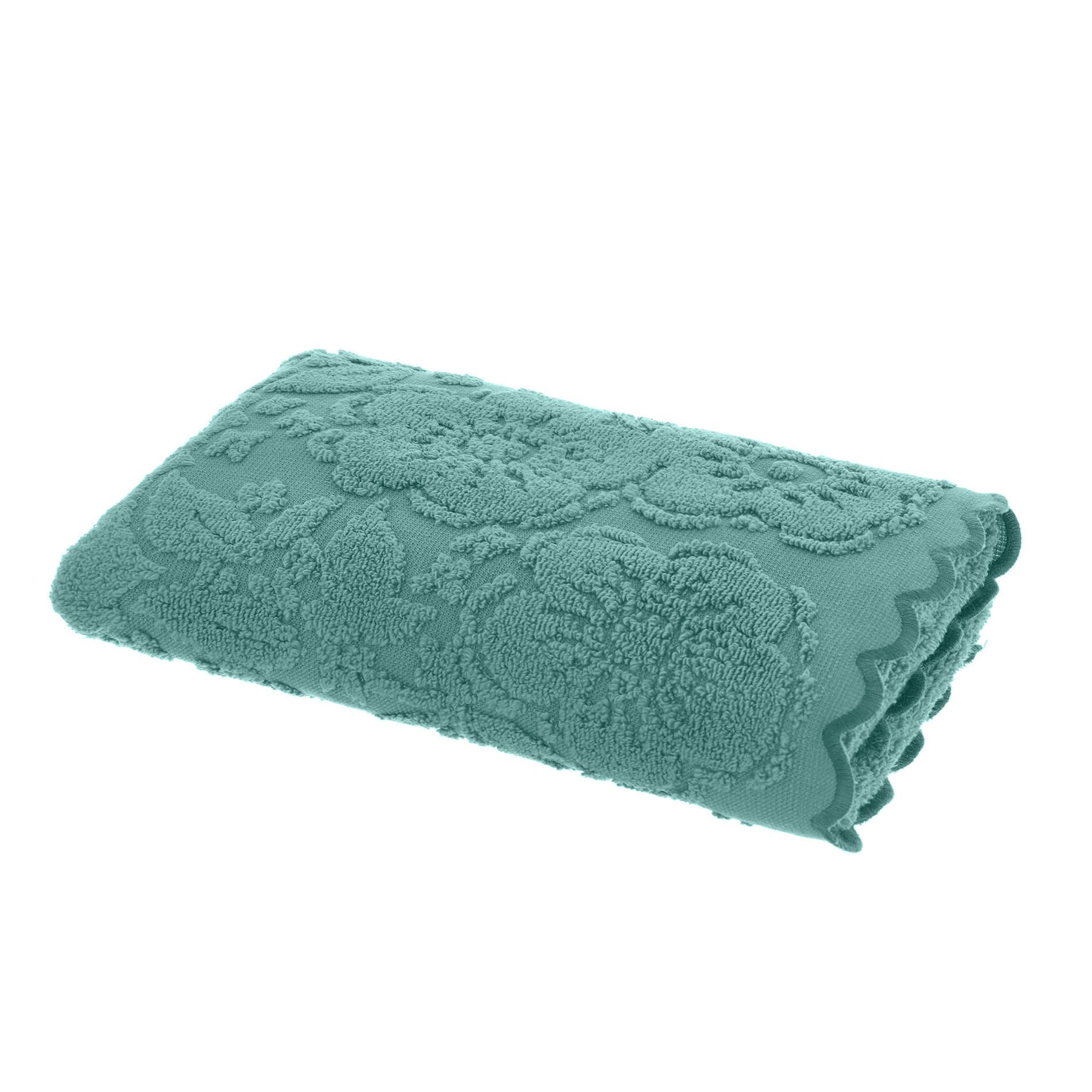 Asciugamano spugna di cotone bordo jacquard, Verde ottanio, large image number 1