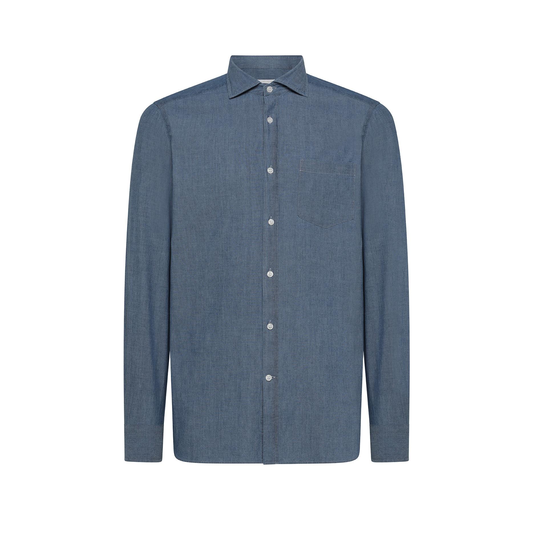 Camicia puro cotone slim fit Luca D'Altieri, Denim, large image number 0