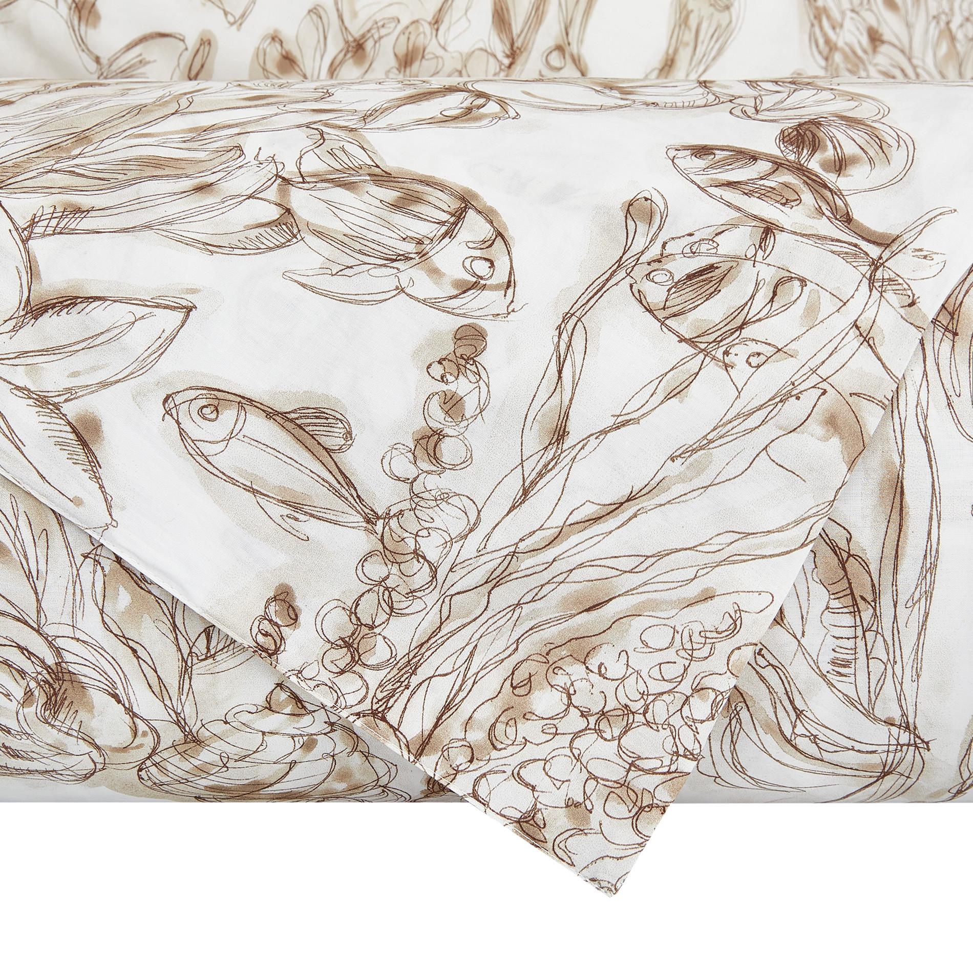 Copripiumino cotone biologico fantasia marina, Beige, large image number 2