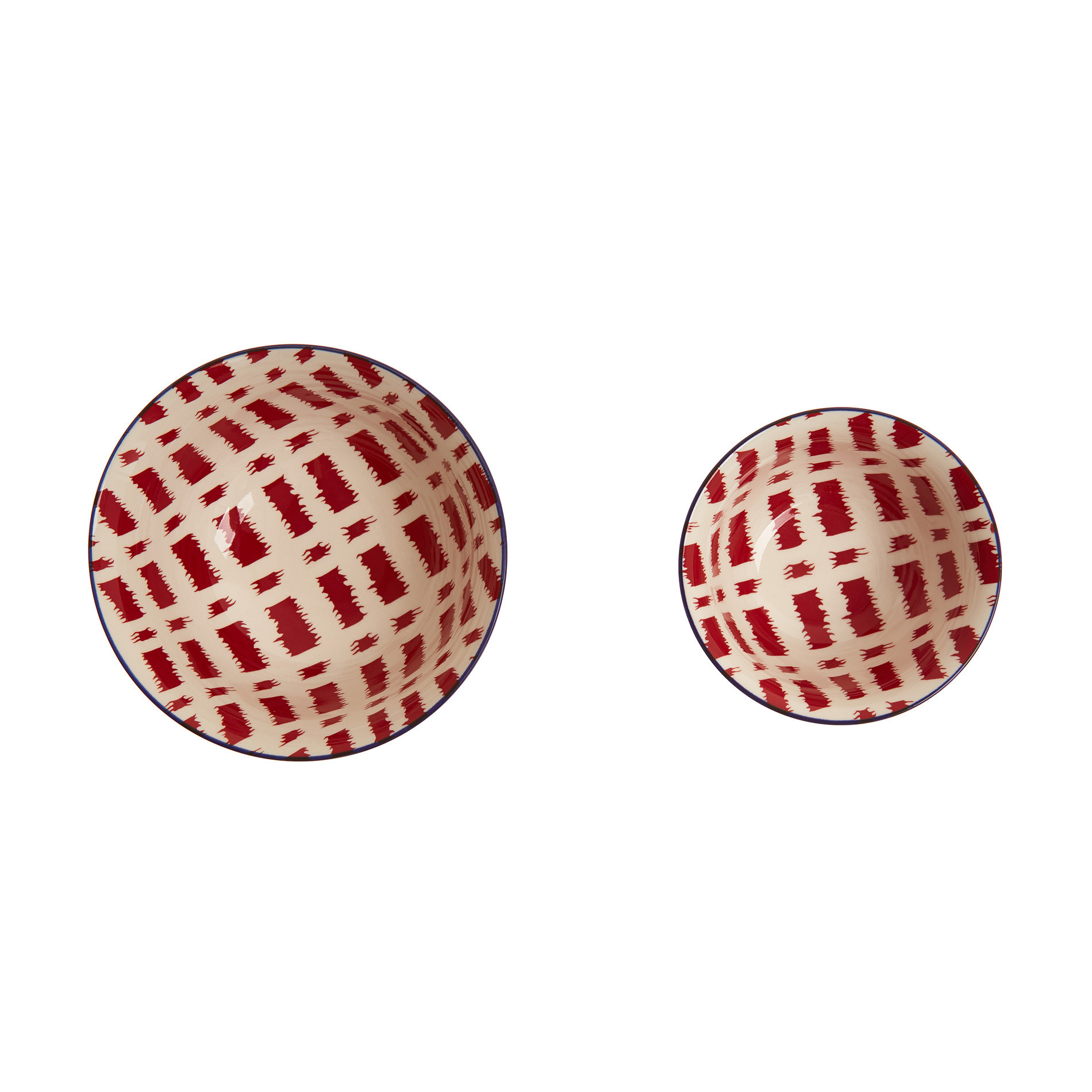 Coppetta stoneware motivo geometrico, Rosso, large image number 1