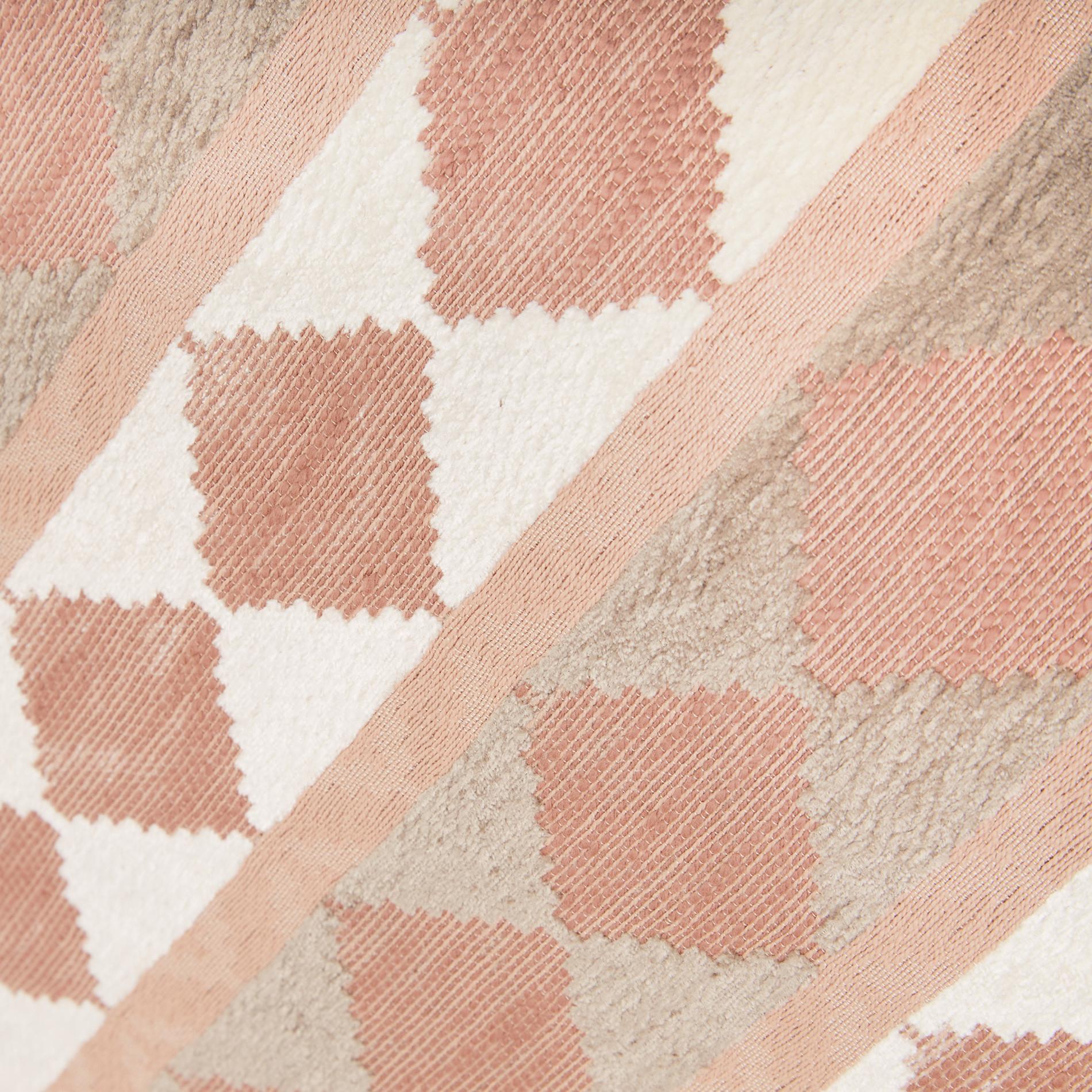 Cuscino jacquard motivo geometrico 50x50cm, Rosa cipria, large image number 2