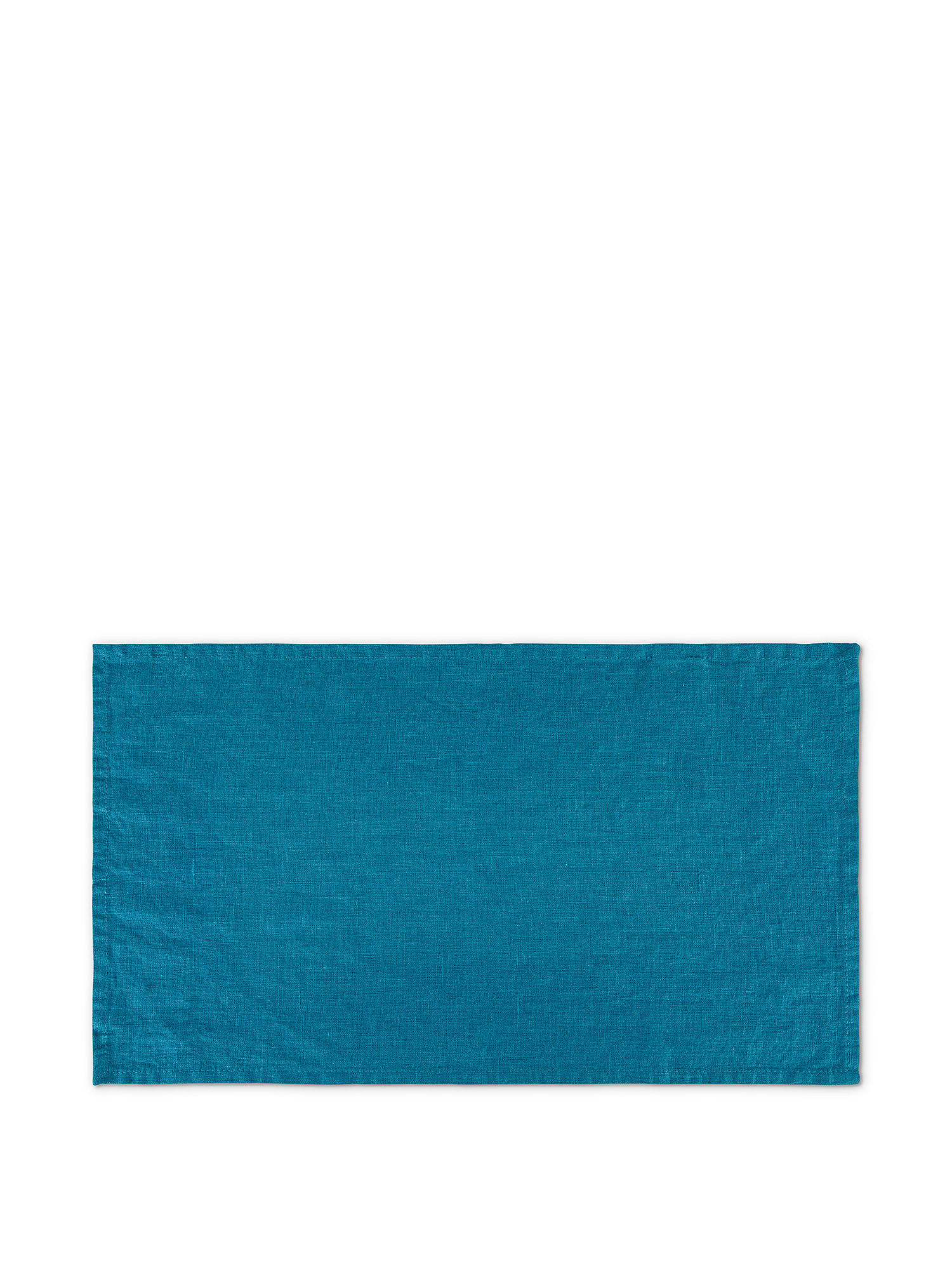 Tovaglietta lino lavato tinta unita, Petrolio, large image number 0
