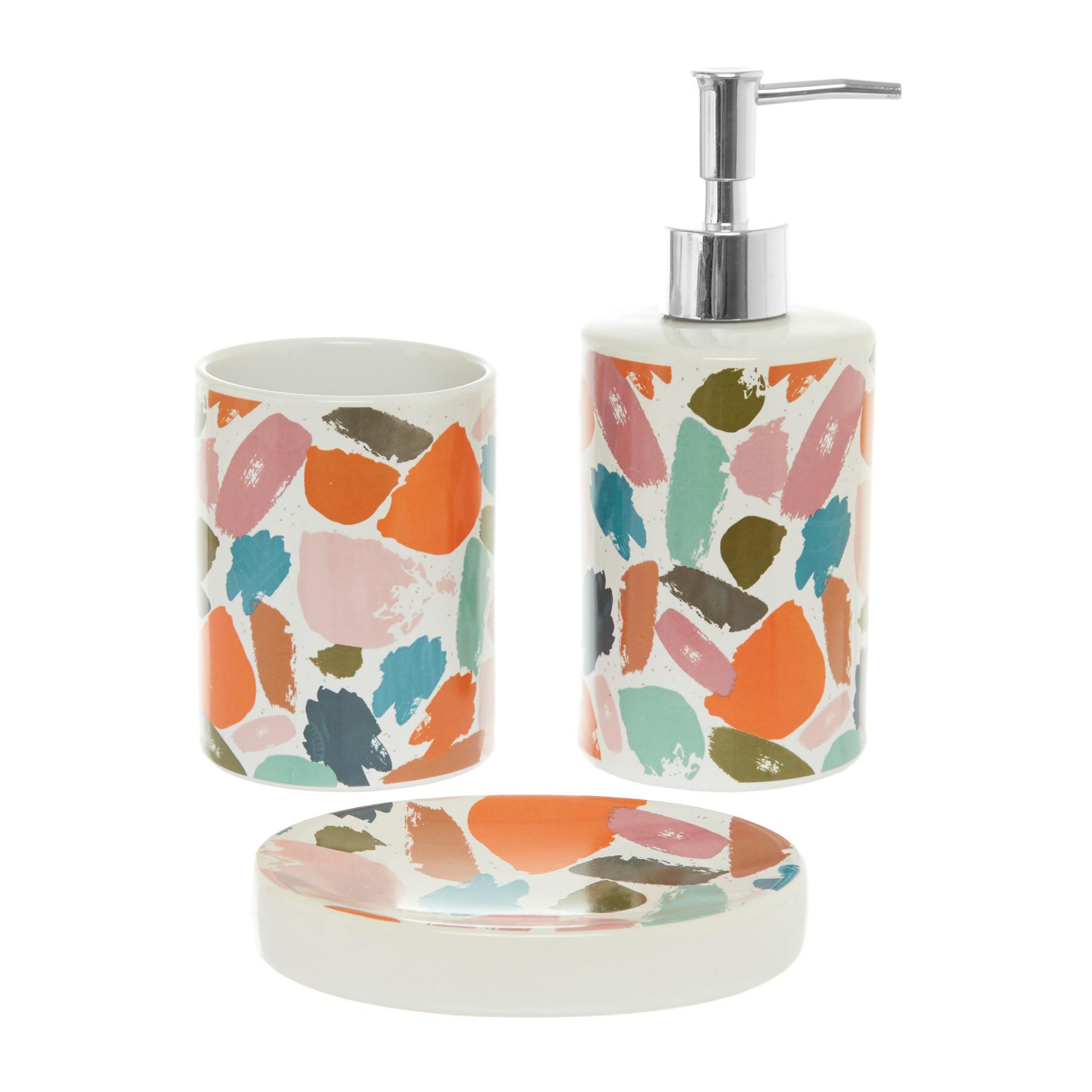 Set 3 accessori da bagno in ceramica motivo macchie, Multicolor, large image number 0
