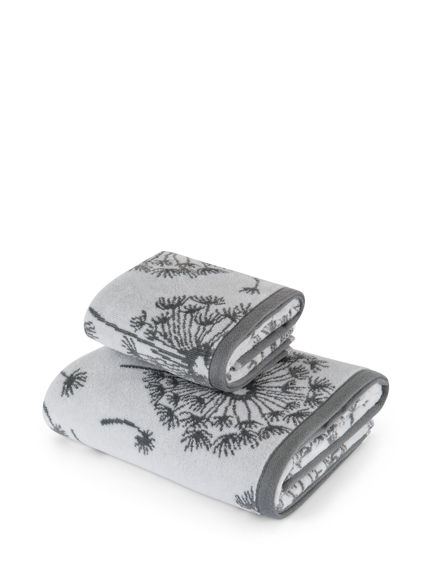 Asciugamano cotone velour motivo soffioni, Grigio, large image number 0