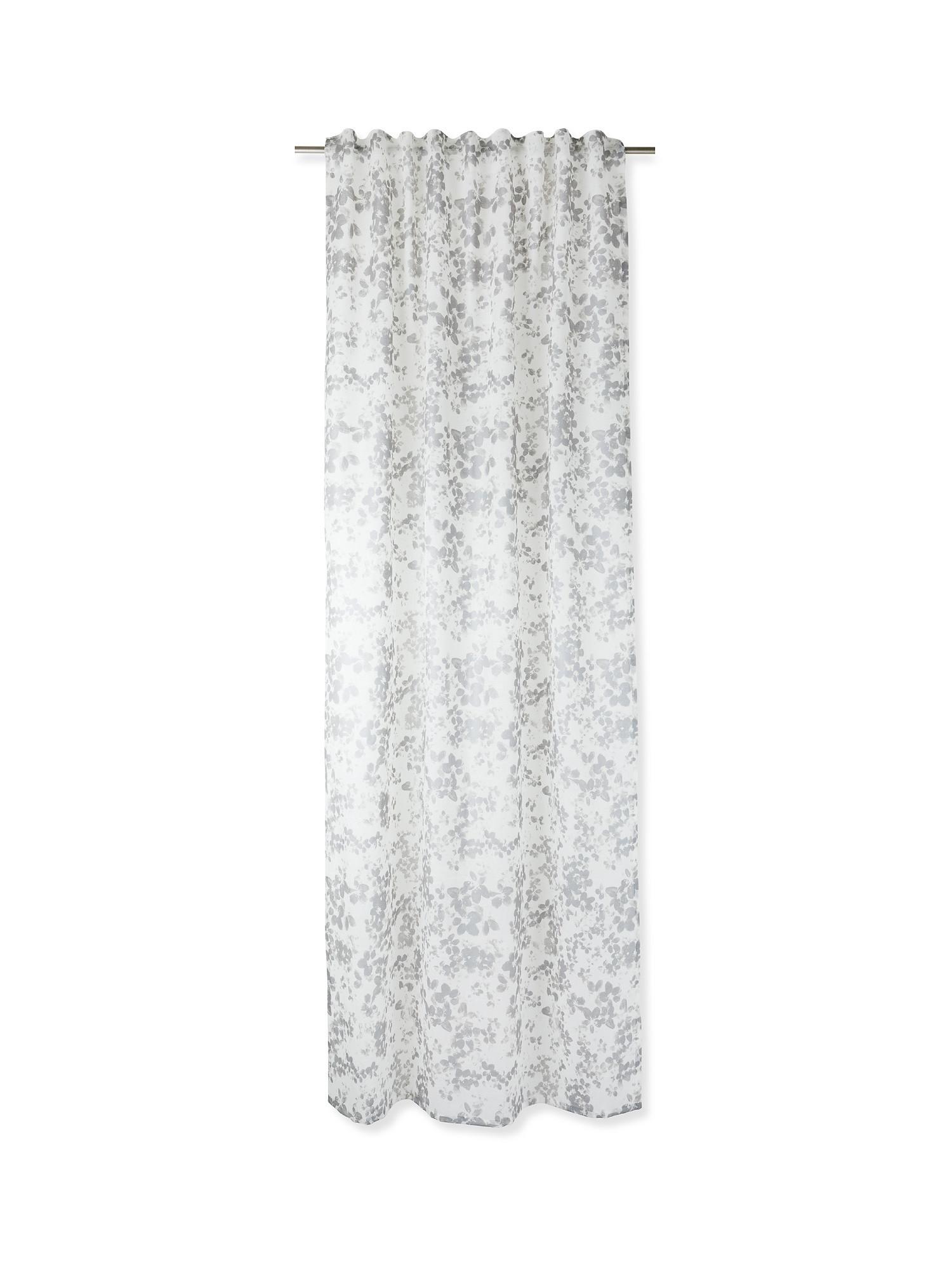 Tenda stampa floreale con passanti nascosti, Grigio, large image number 1