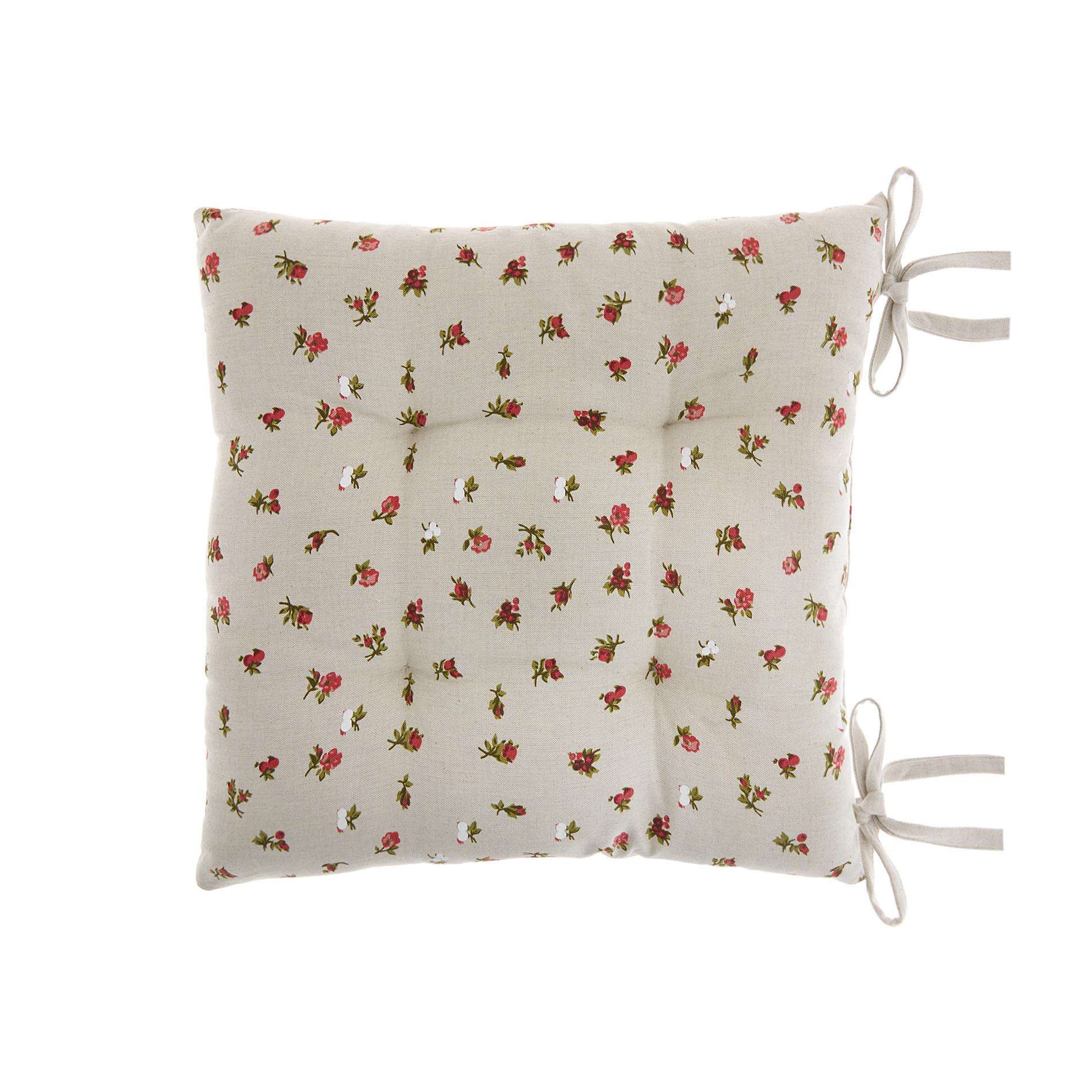 Cuscino da sedia puro cotone stampa fiorellini, Beige, large image number 0