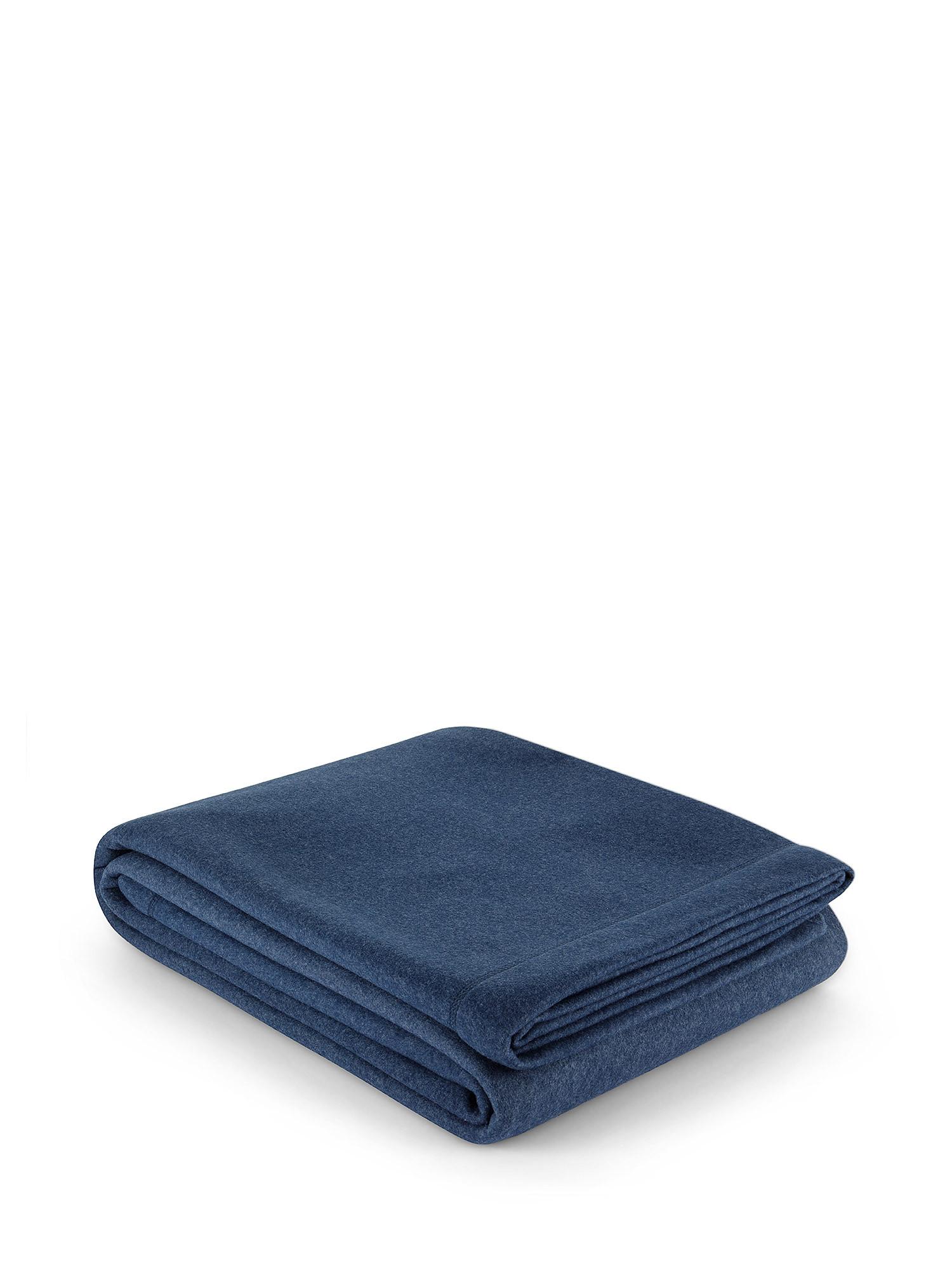 Coperta morbido pile tinta unita, Blu, large image number 0