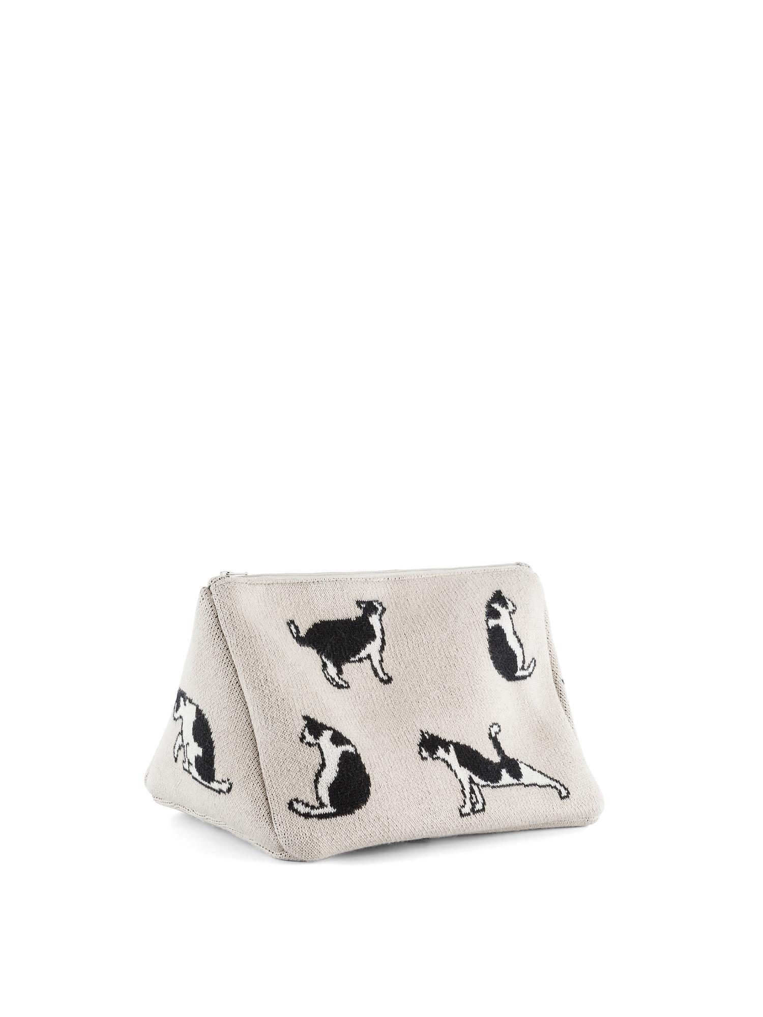 Astuccio cotone motivo gatti, Beige chiaro, large image number 0