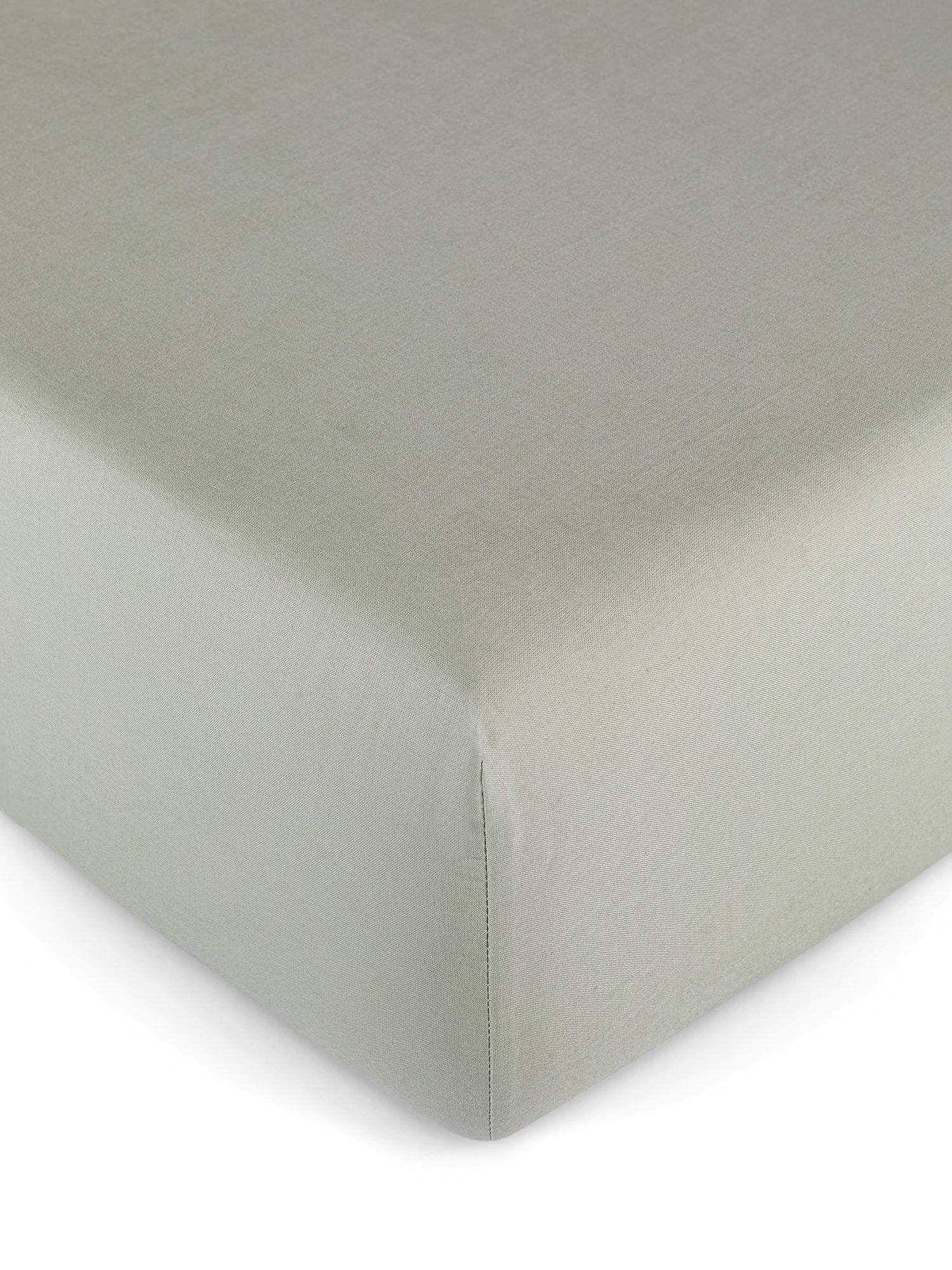 Lenzuolo con angoli puro cotone tinta unita, Verde salvia, large image number 0