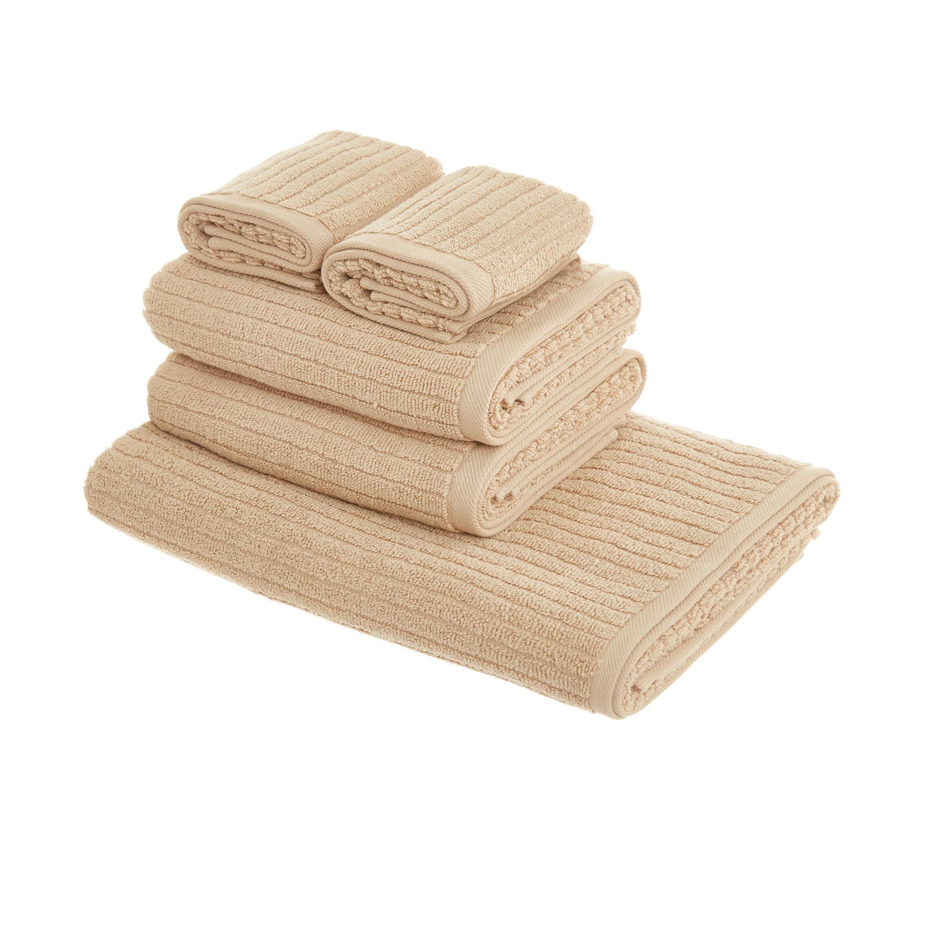 Set asciugamani puro cotone righe jacquard tinta unita, Beige, large image number 1