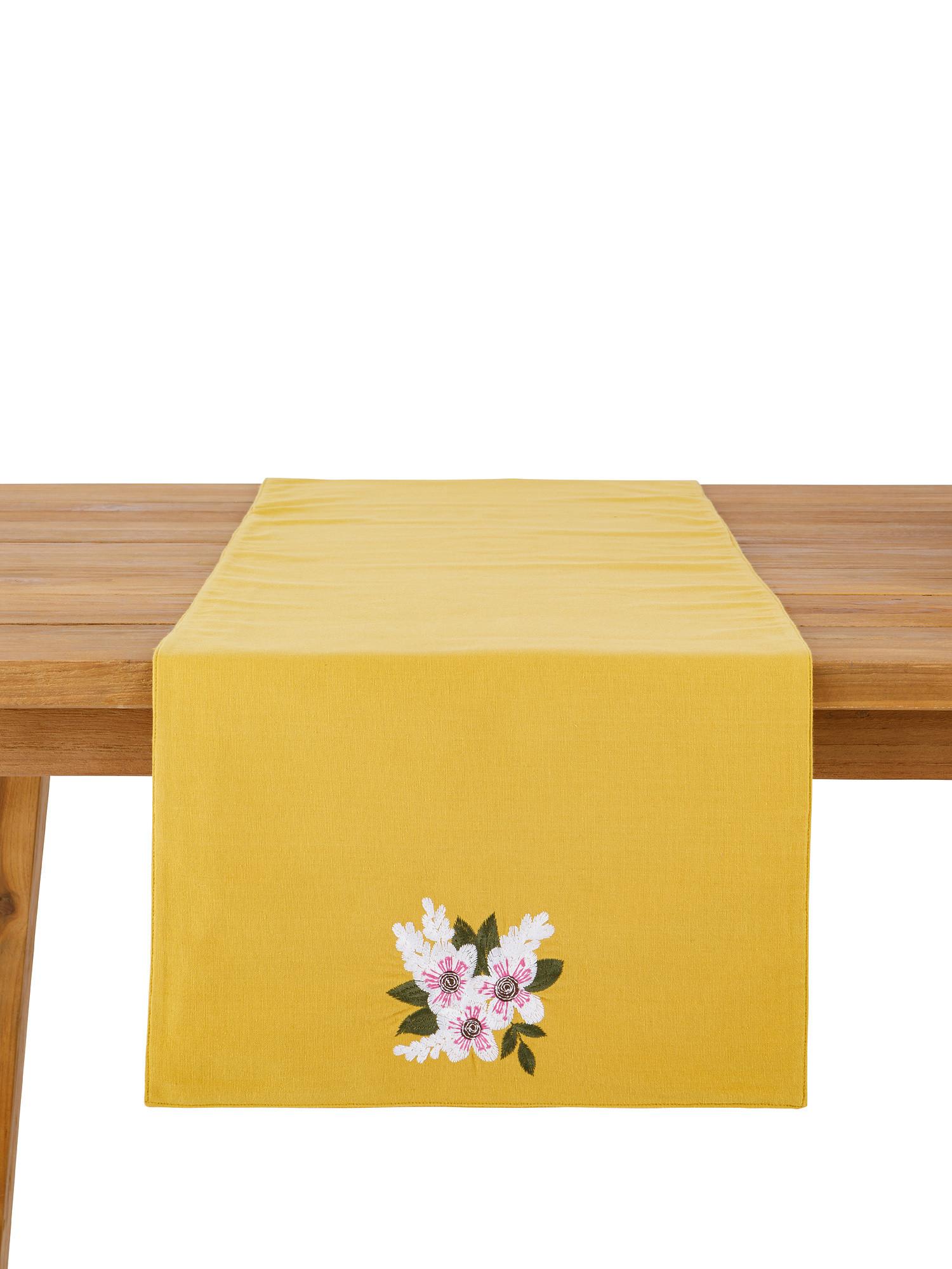 Runner puro cotone ricamo fiore, Giallo, large image number 2