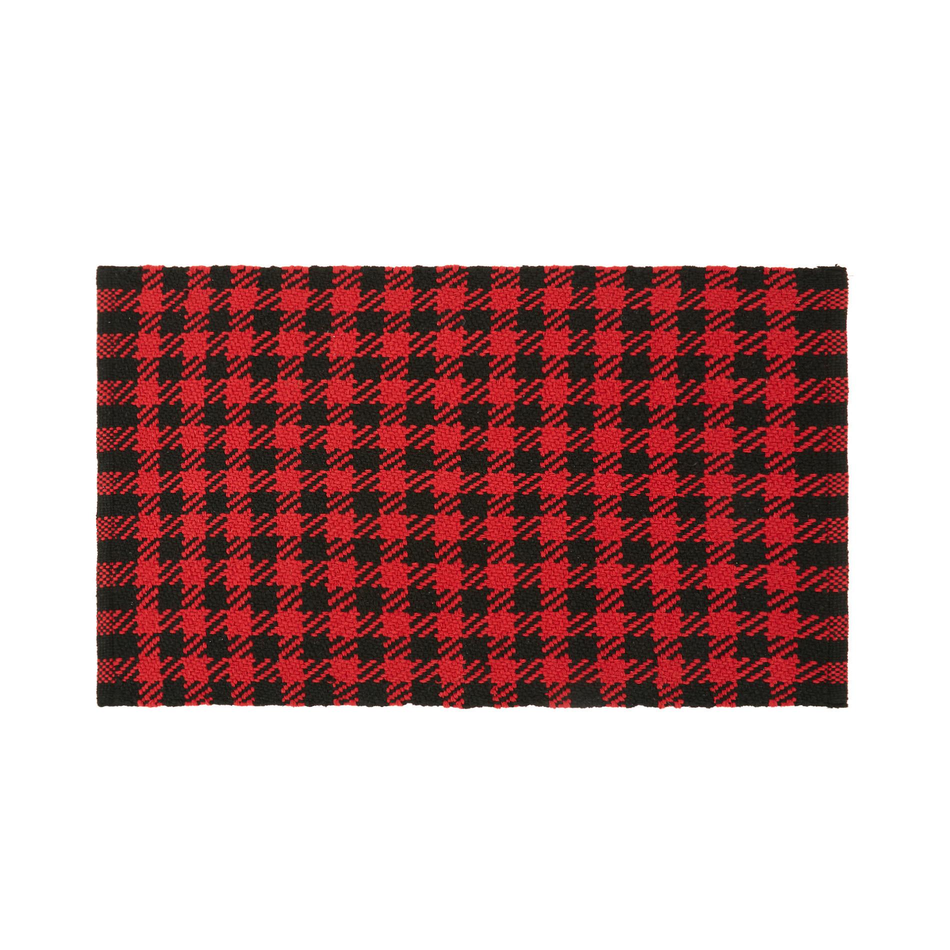 Tappeto tessuto motivo a quadri, Rosso, large image number 0
