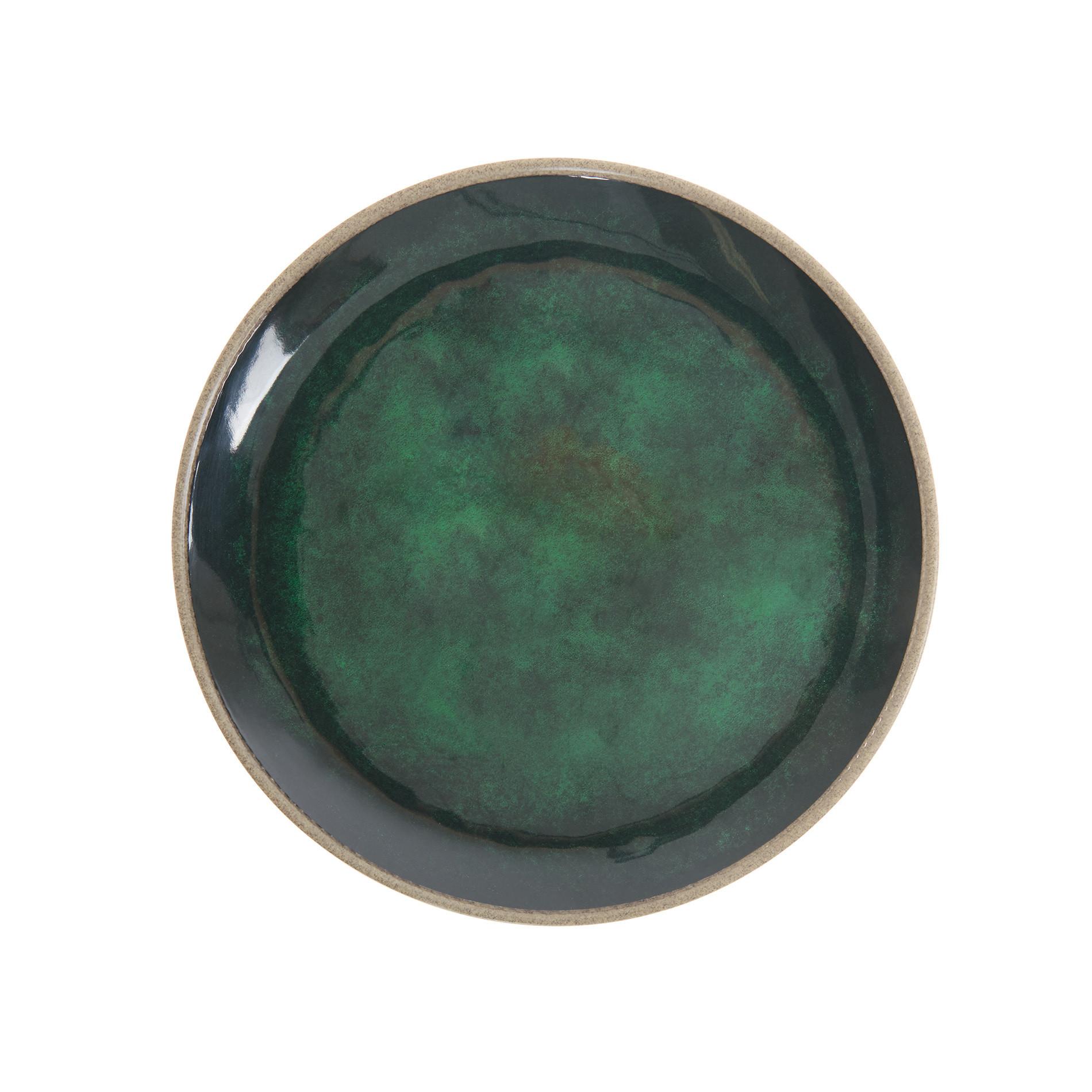 Piatto piano melamina tinta unita, Verde scuro, large image number 0